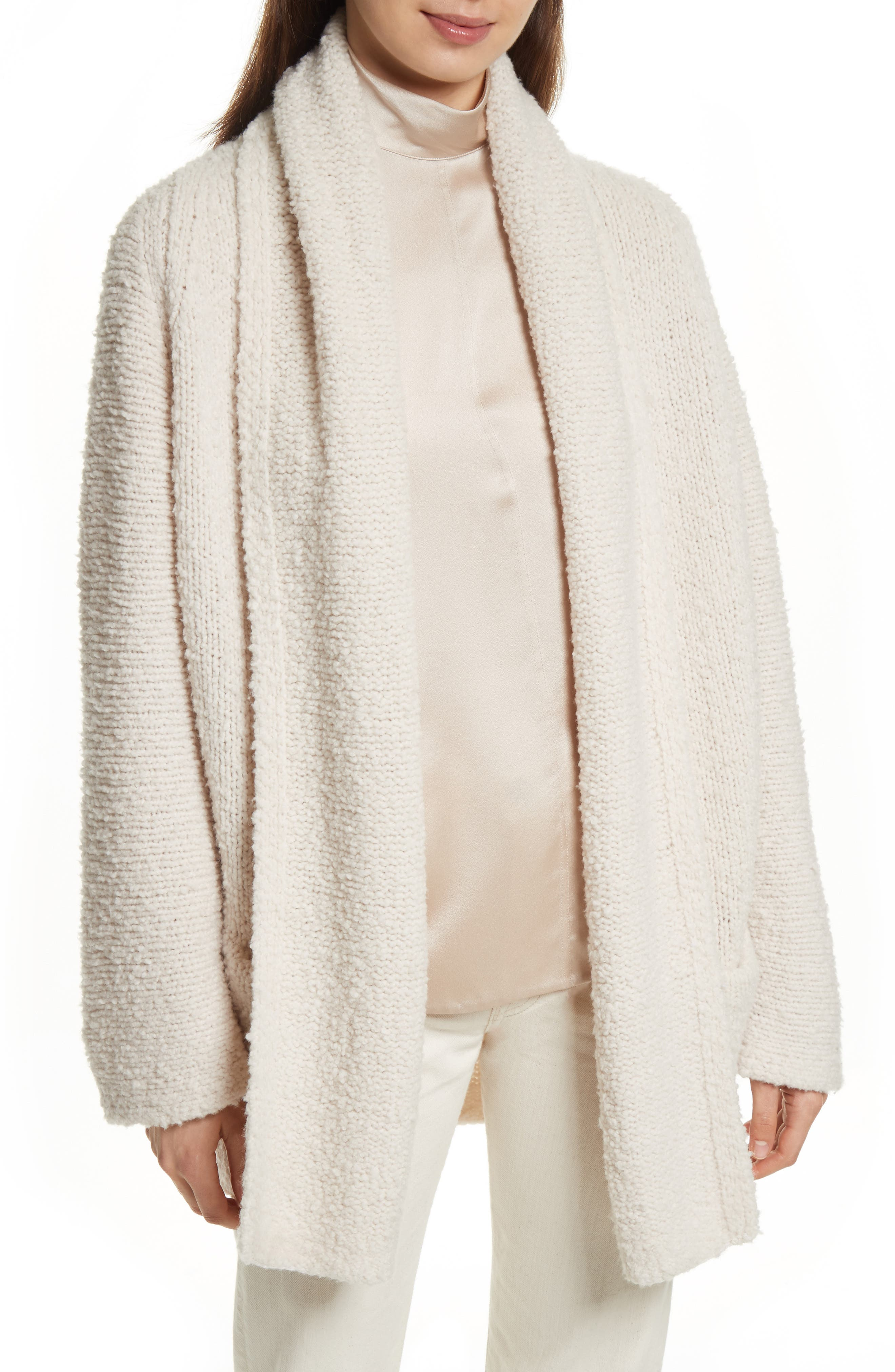Drape Front Wool Knit Cardigan,                             Main thumbnail 1, color,                             Off White