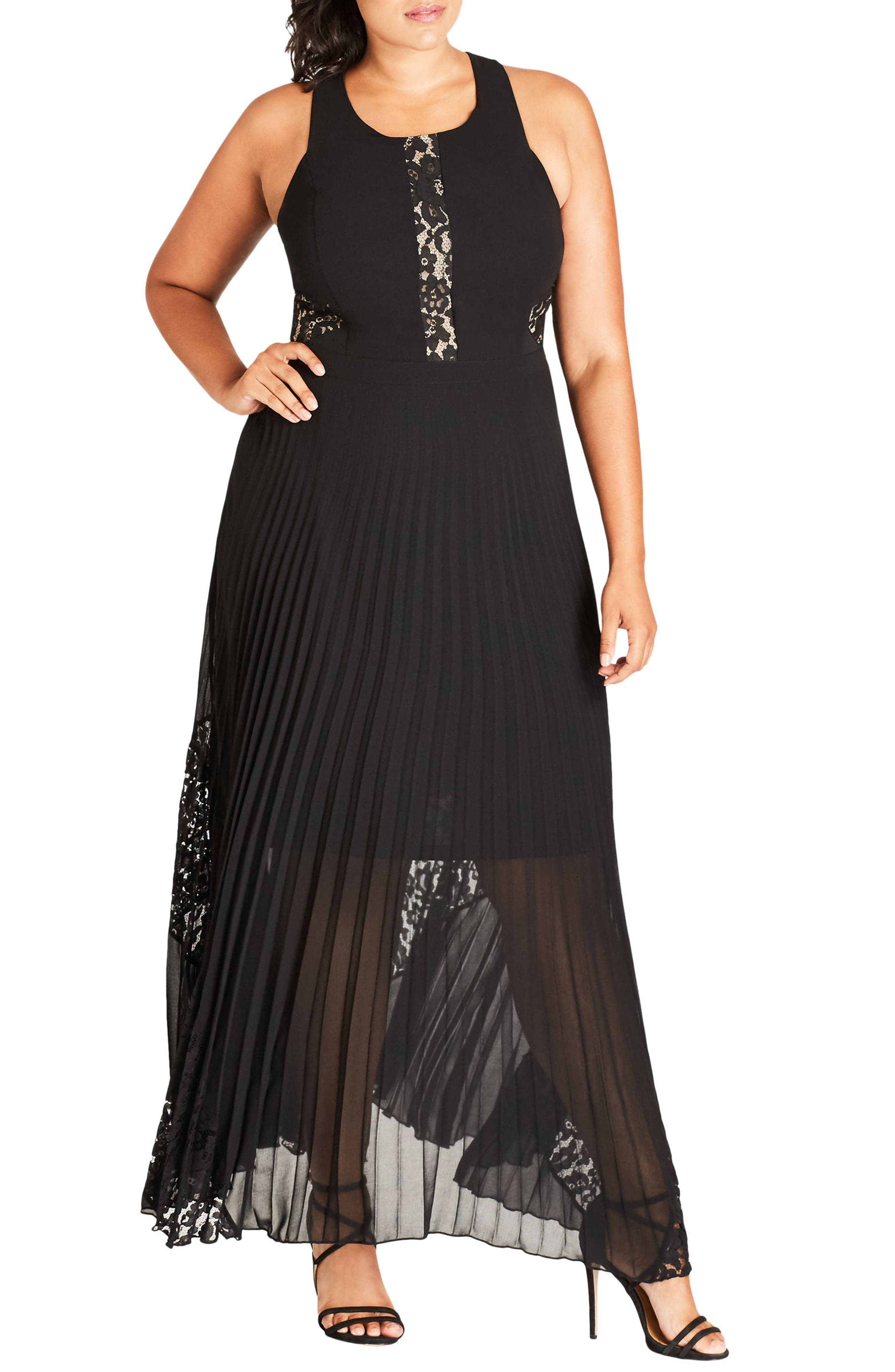 Lace Inset Pleated Maxi Dress,                         Main,                         color, Black