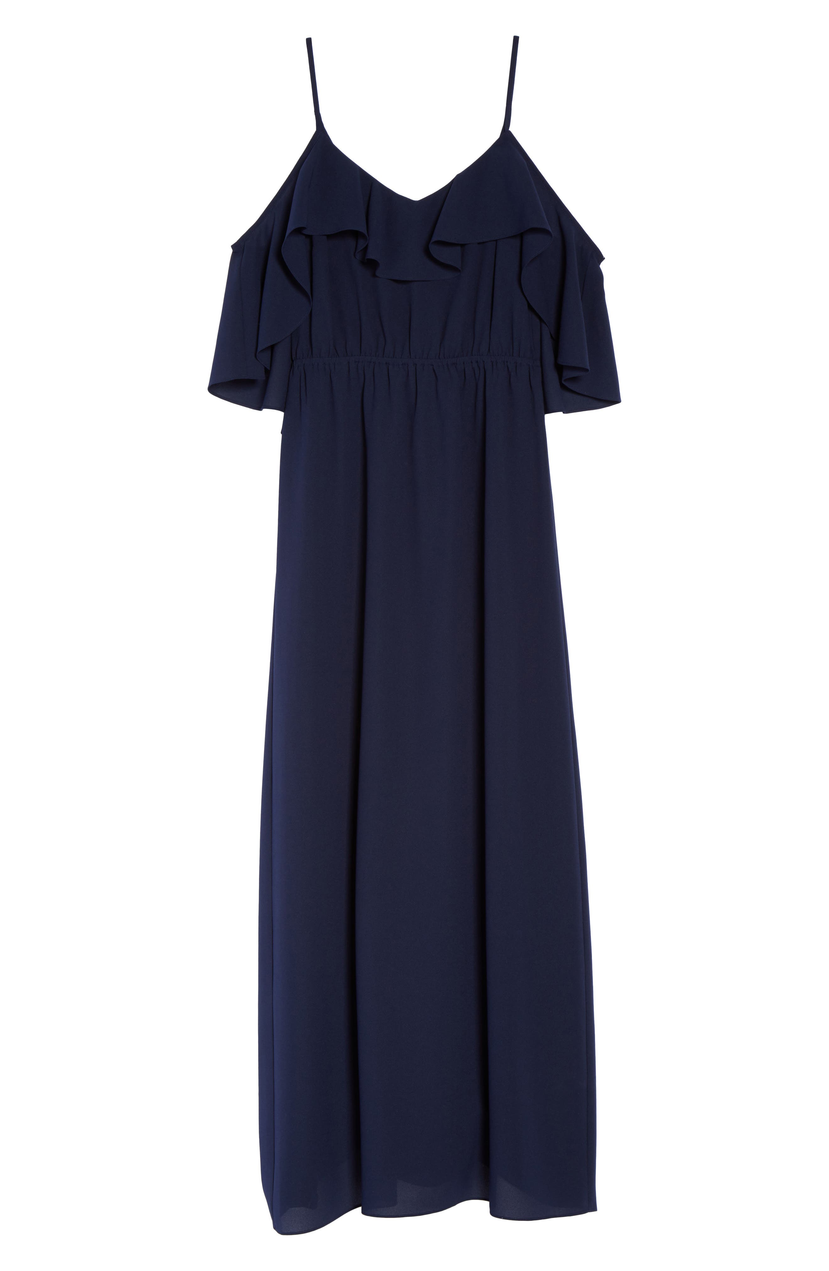 Love Story Cold Shoulder Maxi Dress,                             Alternate thumbnail 7, color,                             Navy