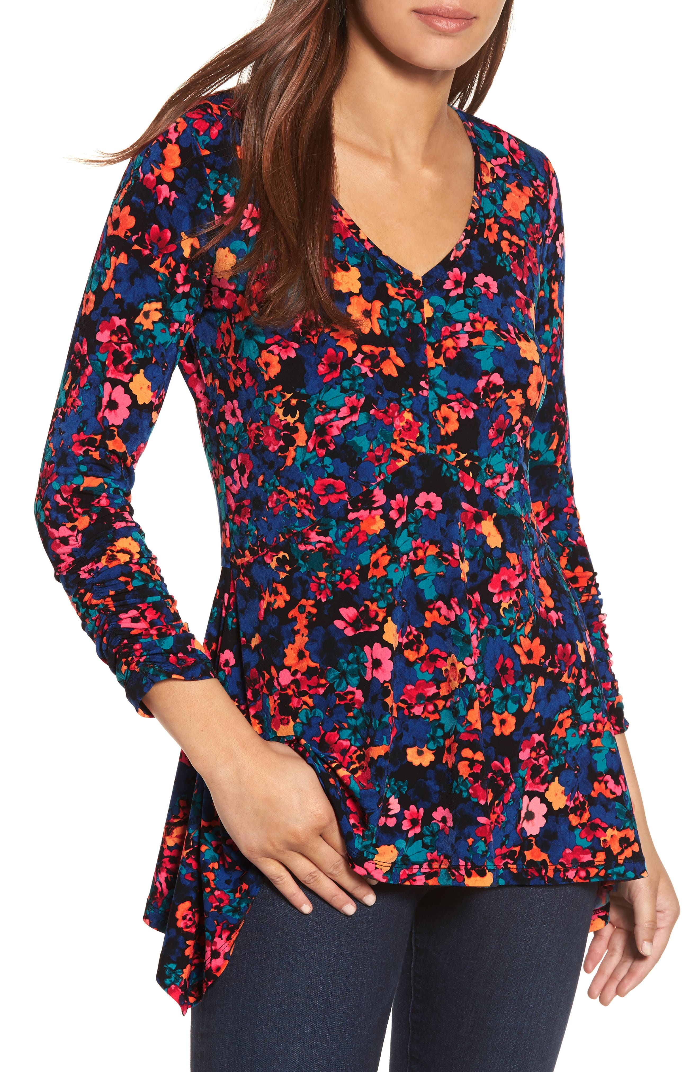 Floral Field Ruched Handkerchief Top,                         Main,                         color, Blue Depths
