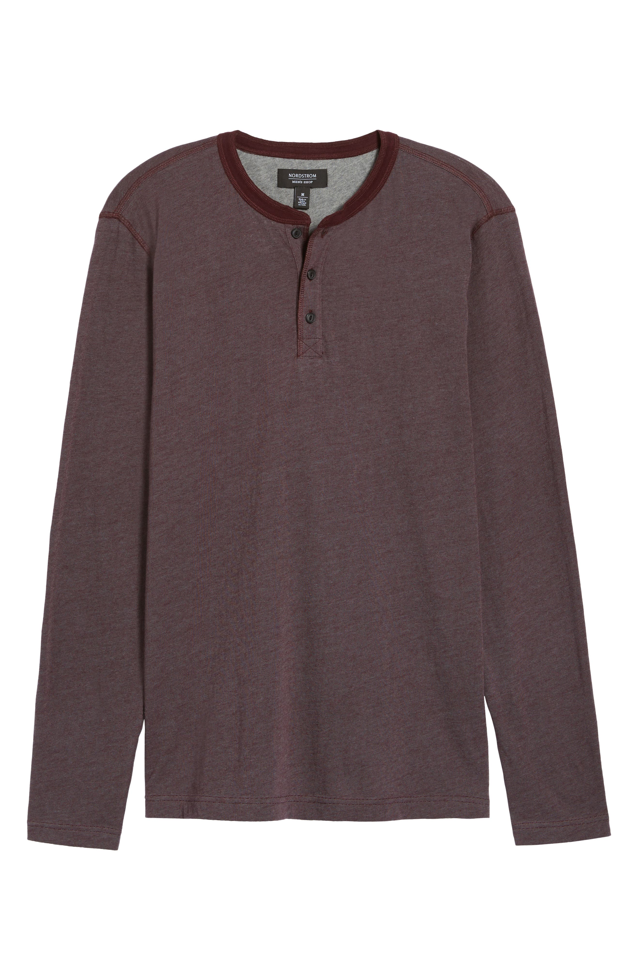 Stripe Henley,                             Alternate thumbnail 6, color,                             Burgundy Stem Eoe