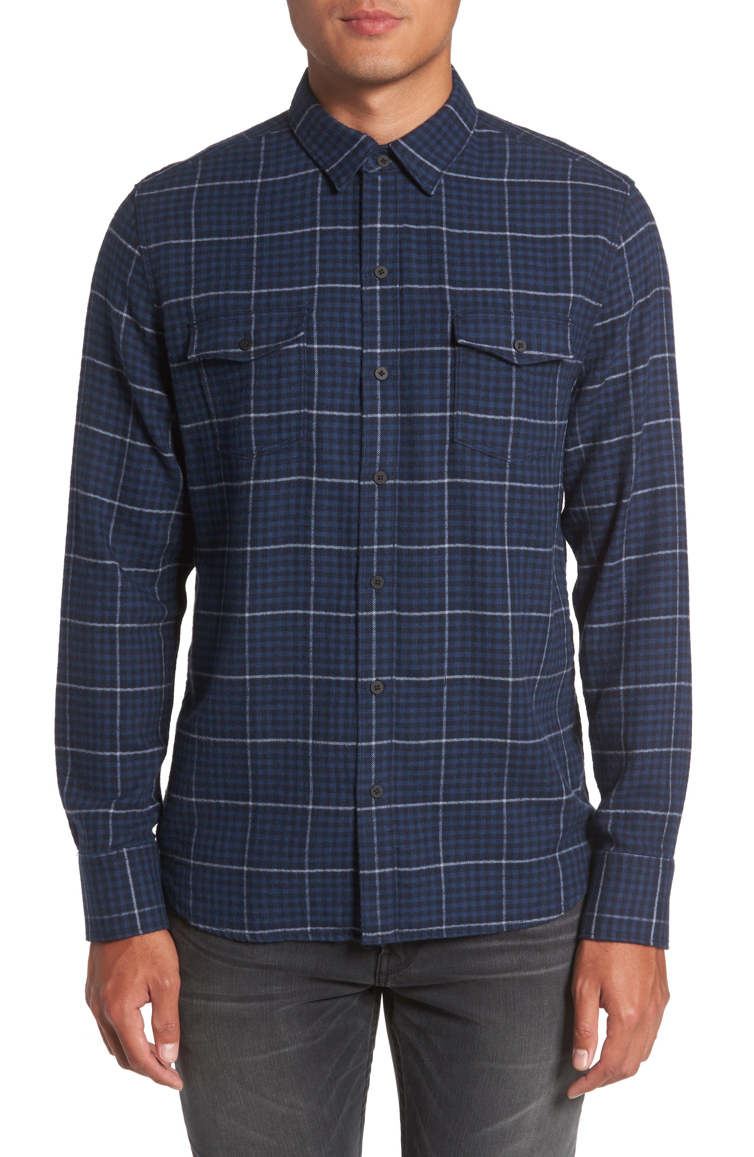 Everett Tattersall Check Sport Shirt,                         Main,                         color, Blue Echo