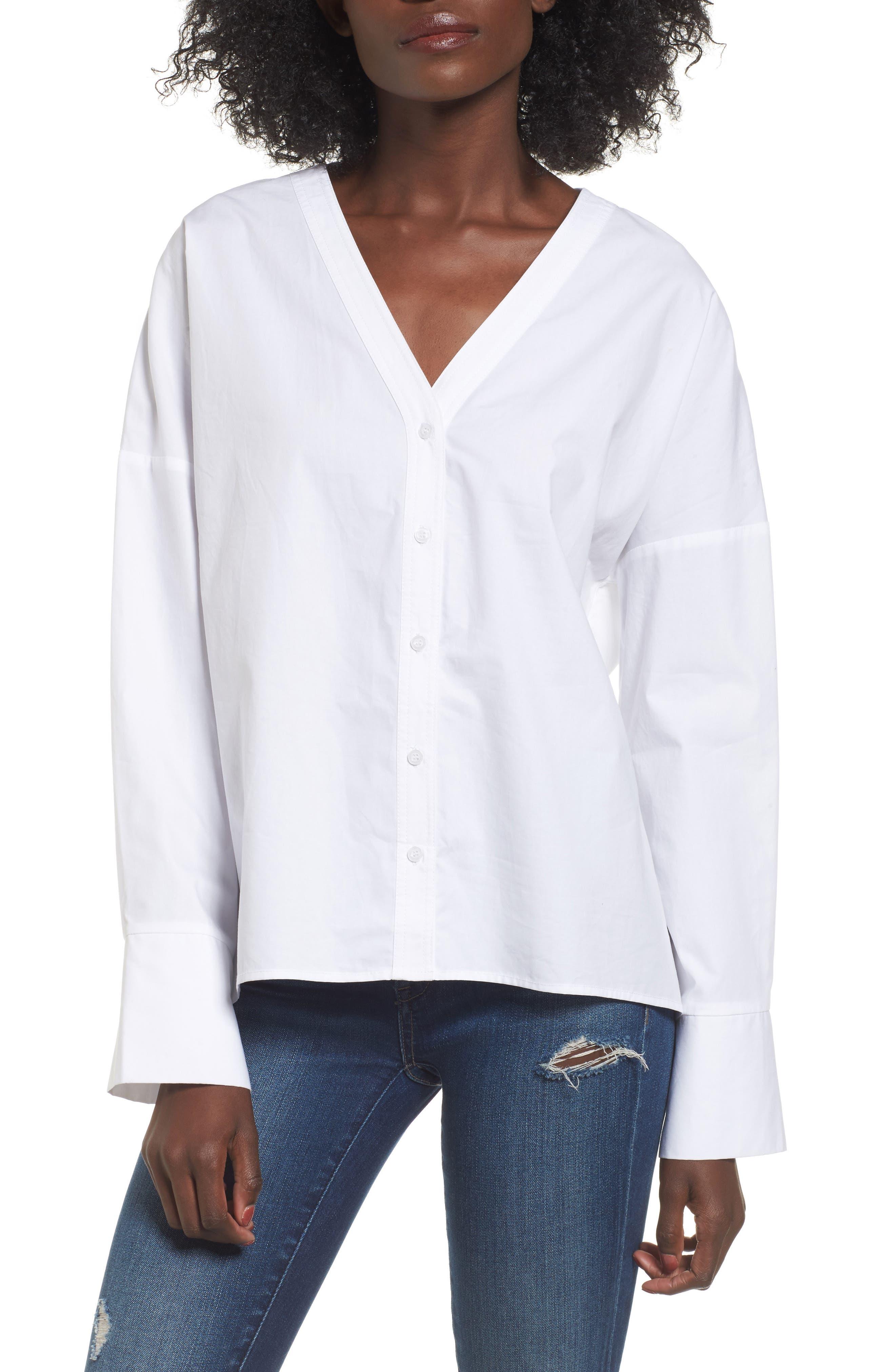 Poplin Blouse,                         Main,                         color, White