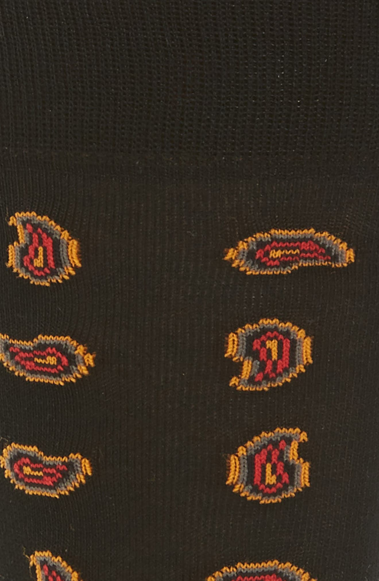 Mini Paisley Socks,                             Alternate thumbnail 2, color,                             Black/ Red
