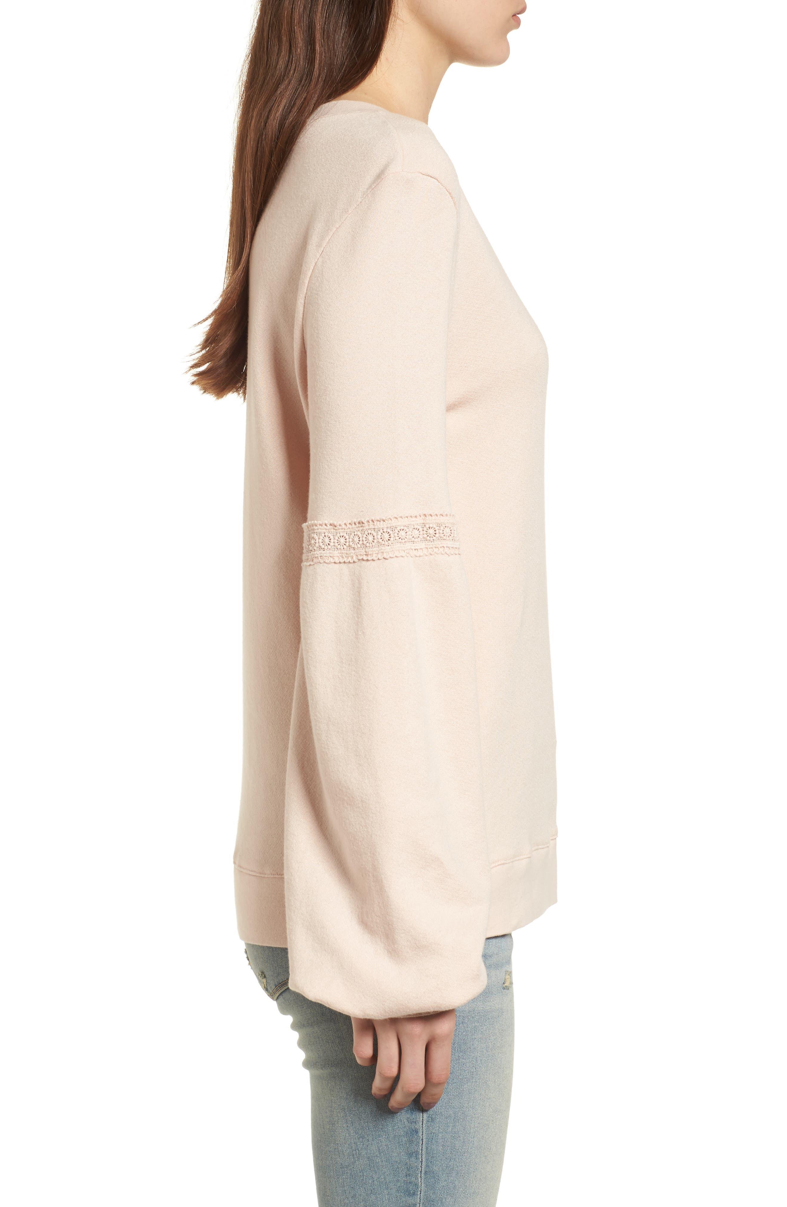 Blouson Sleeve Sweatshirt,                             Alternate thumbnail 3, color,                             Ivory Shell