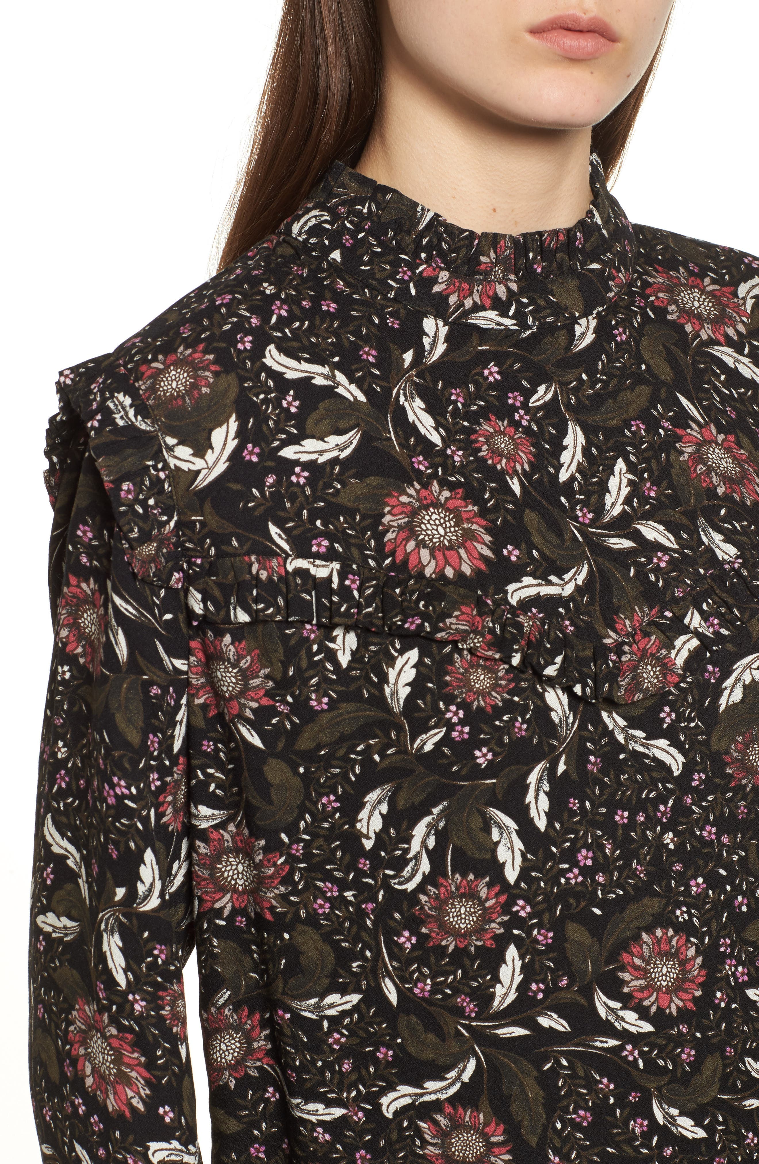 Ruffle Top,                             Alternate thumbnail 3, color,                             Black Crowded Floral
