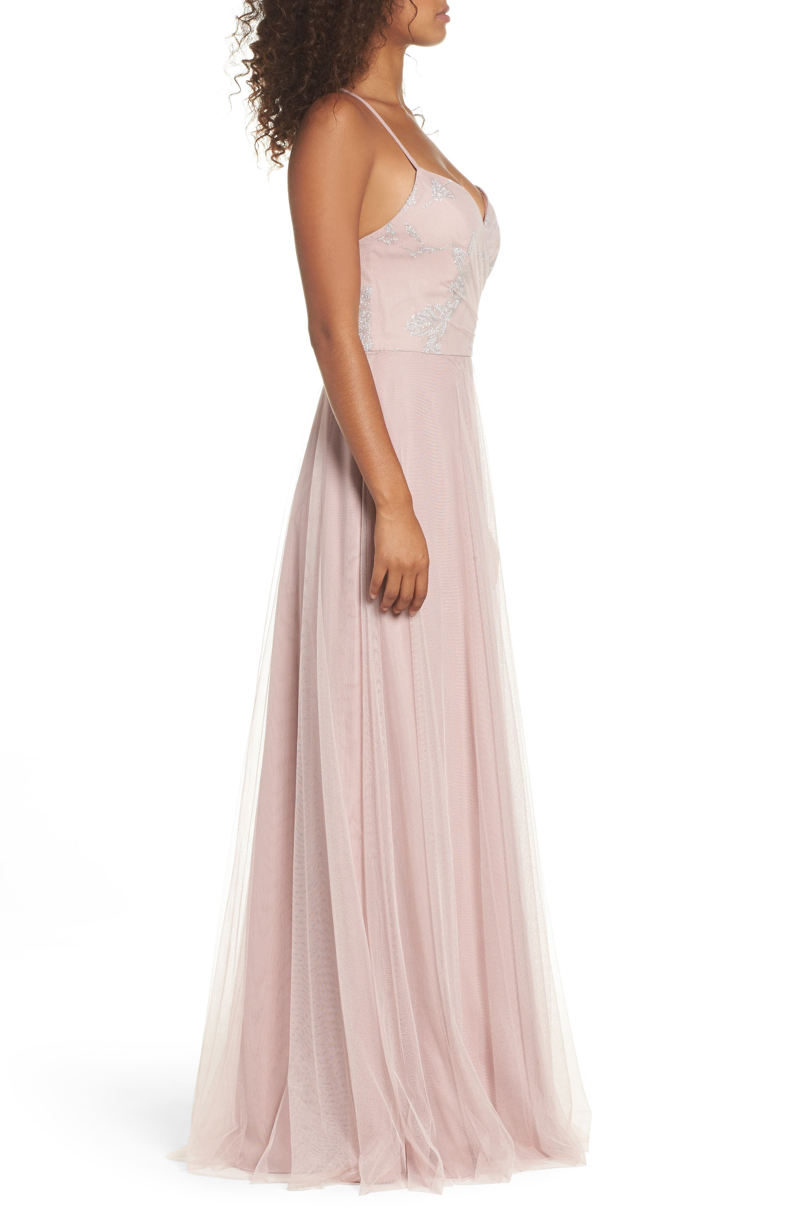 Alternate Image 3  - Hayley Paige Occasions Embellished Bodice Net Halter Gown