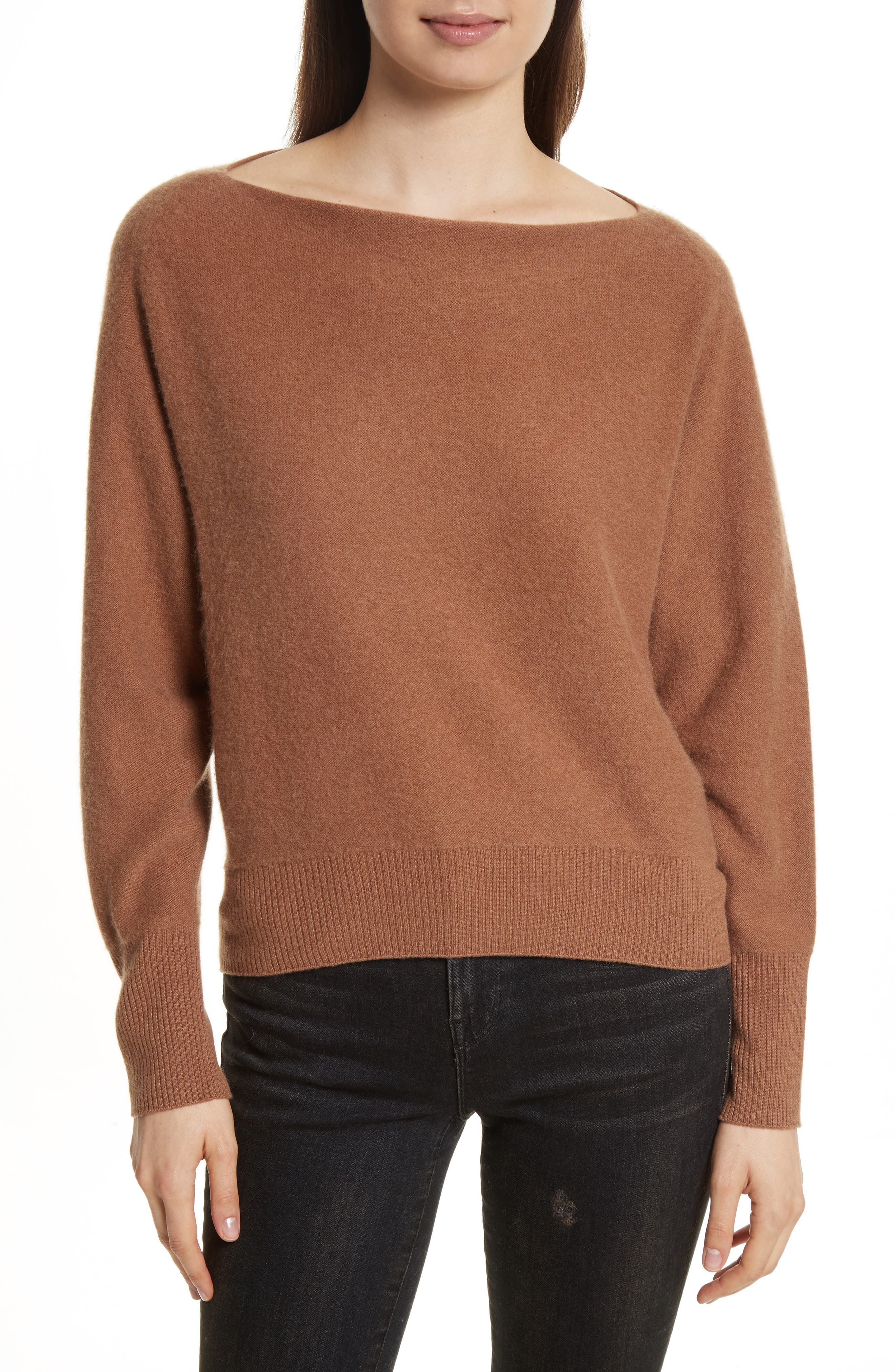 Boat Neck Cashmere Pullover,                             Main thumbnail 1, color,                             Ginger