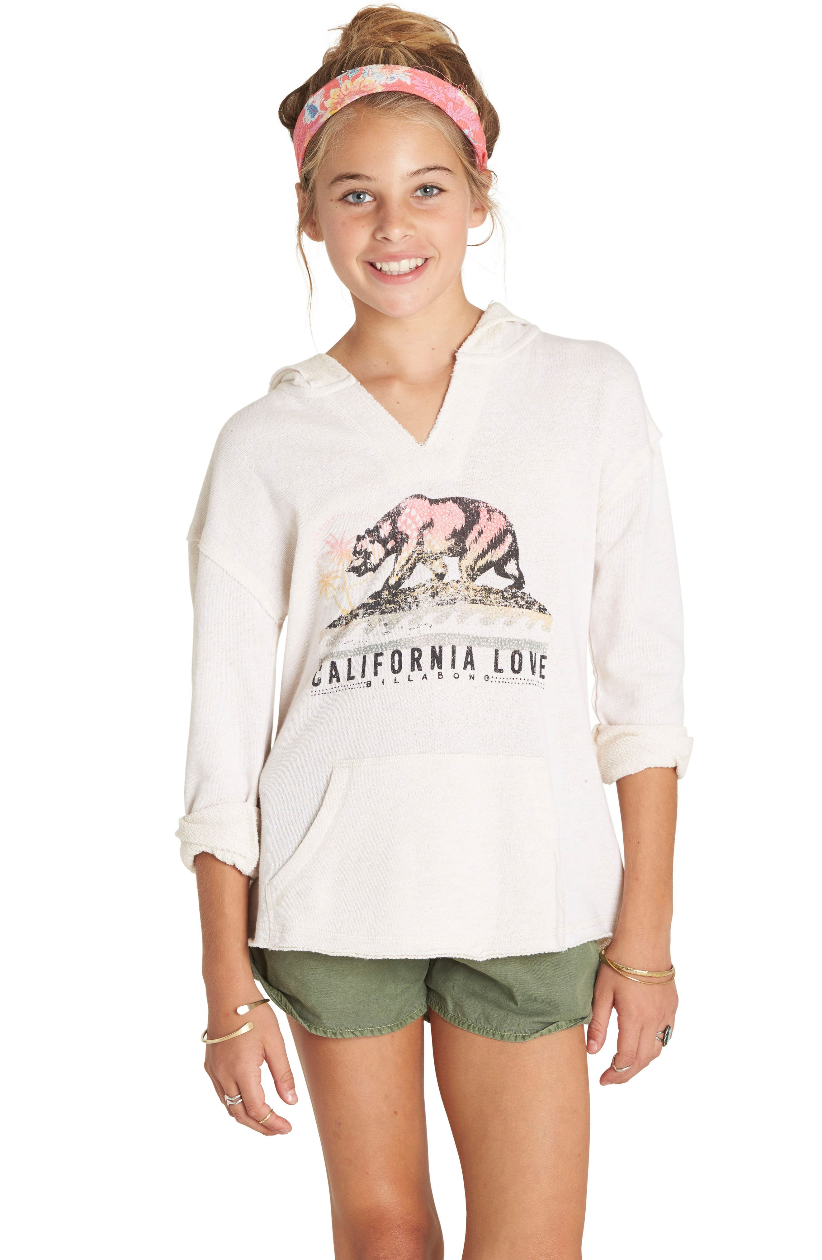 Alternate Image 1 Selected - Billabong Days Off Graphic Hoodie (Little Girls & Big Girls)