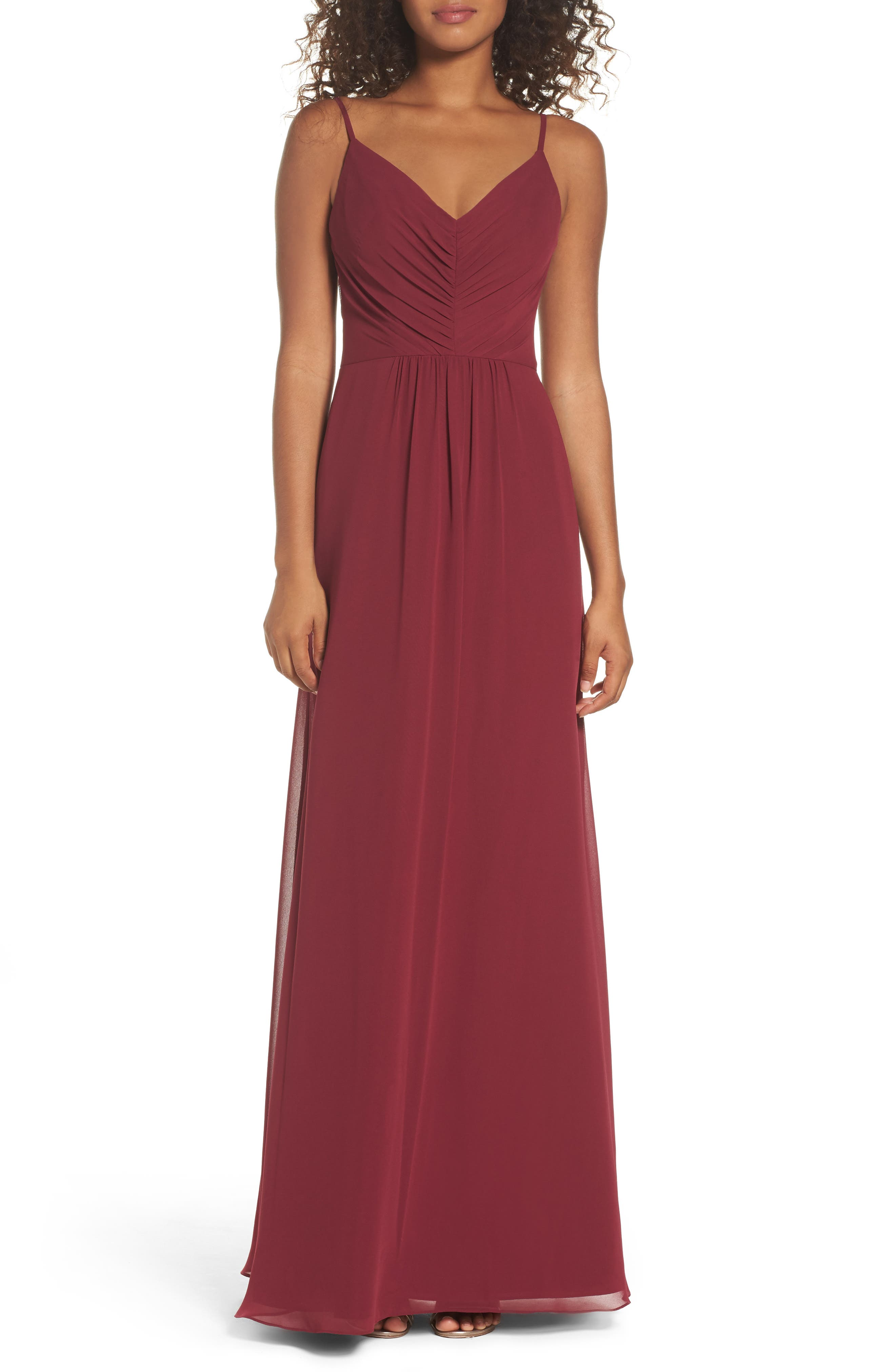 Hayley Paige Occasions Gathered V-Neck Chiffon Gown