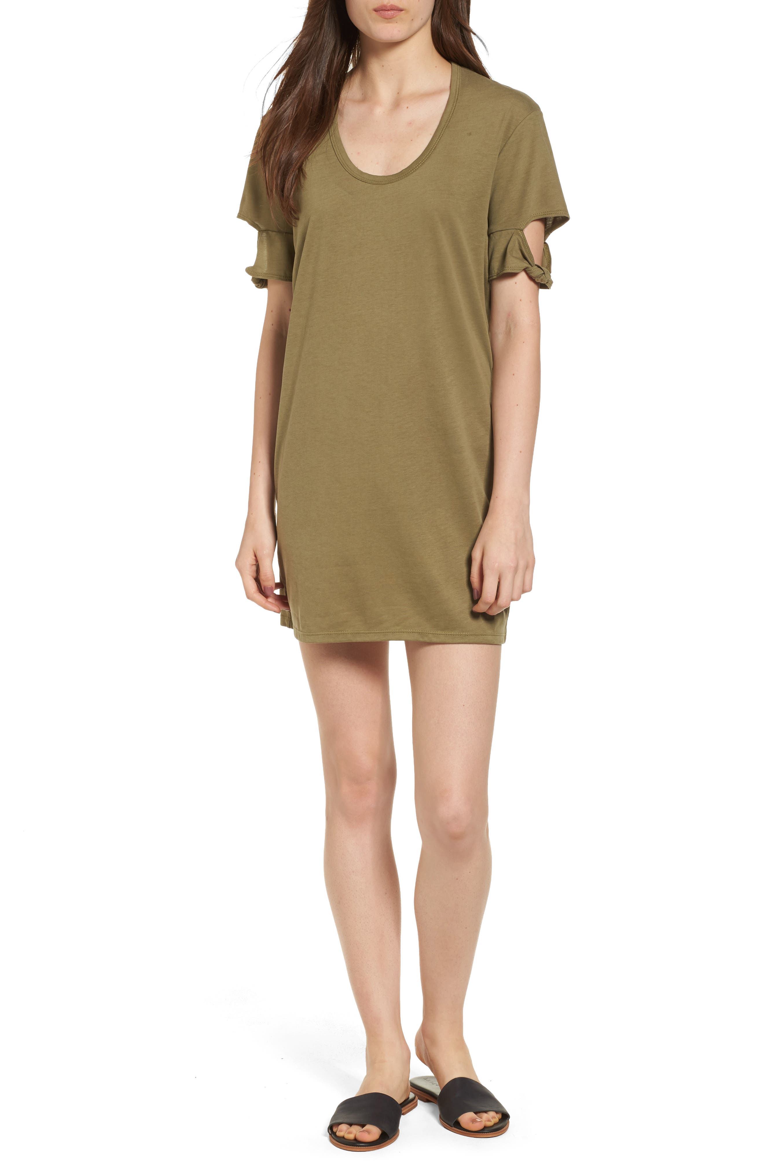 Knotted Sleeve T-Shirt Dress,                         Main,                         color, Olive