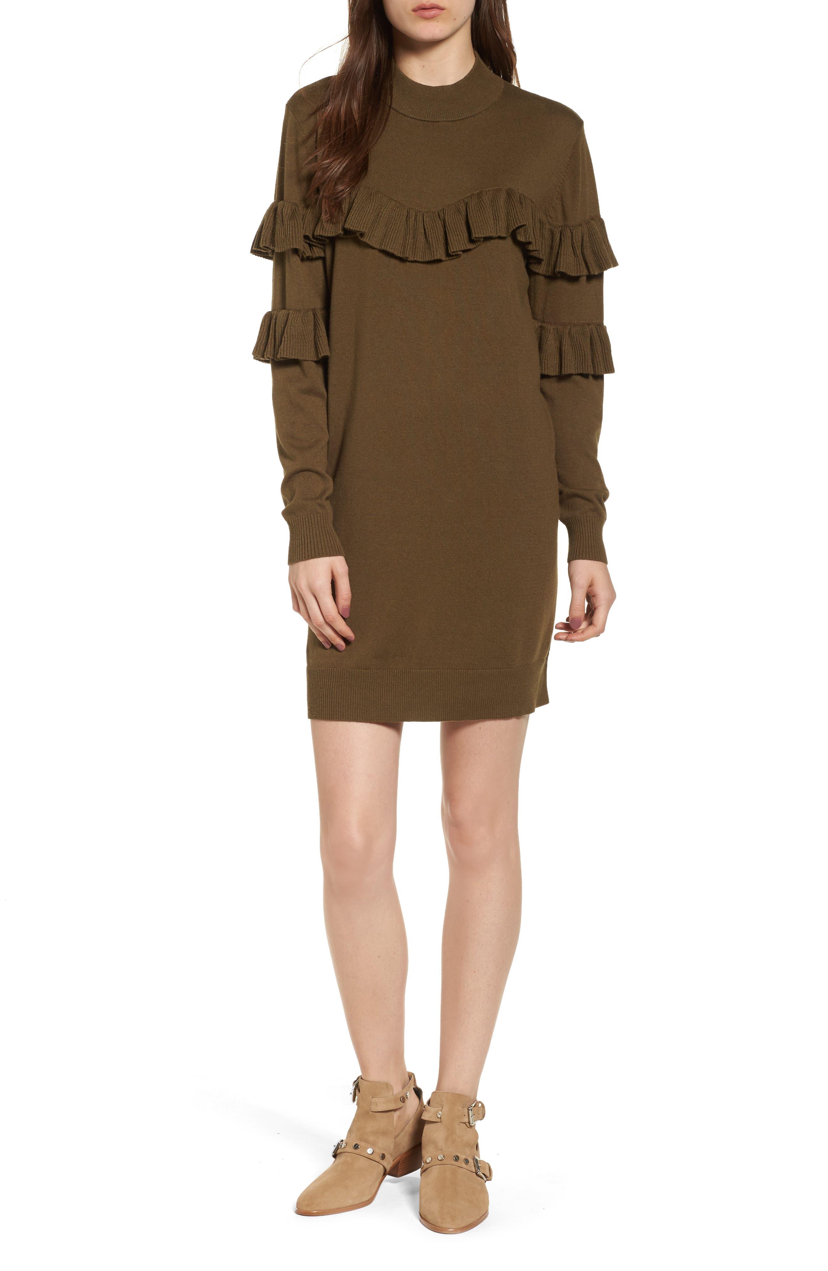 Ruffle Sweater Dress,                         Main,                         color, Olive Dark