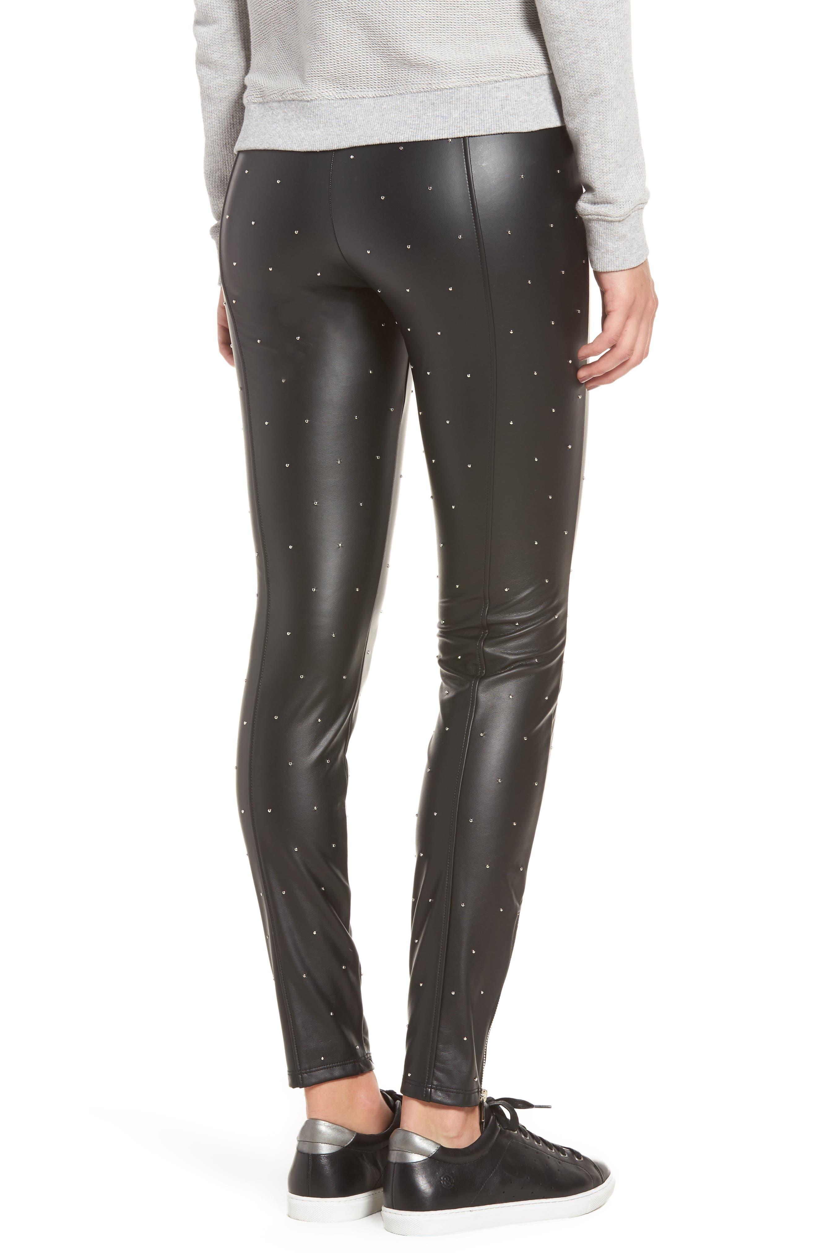 Bowery Studded High Waist Leggings,                             Alternate thumbnail 2, color,                             Silver Dot