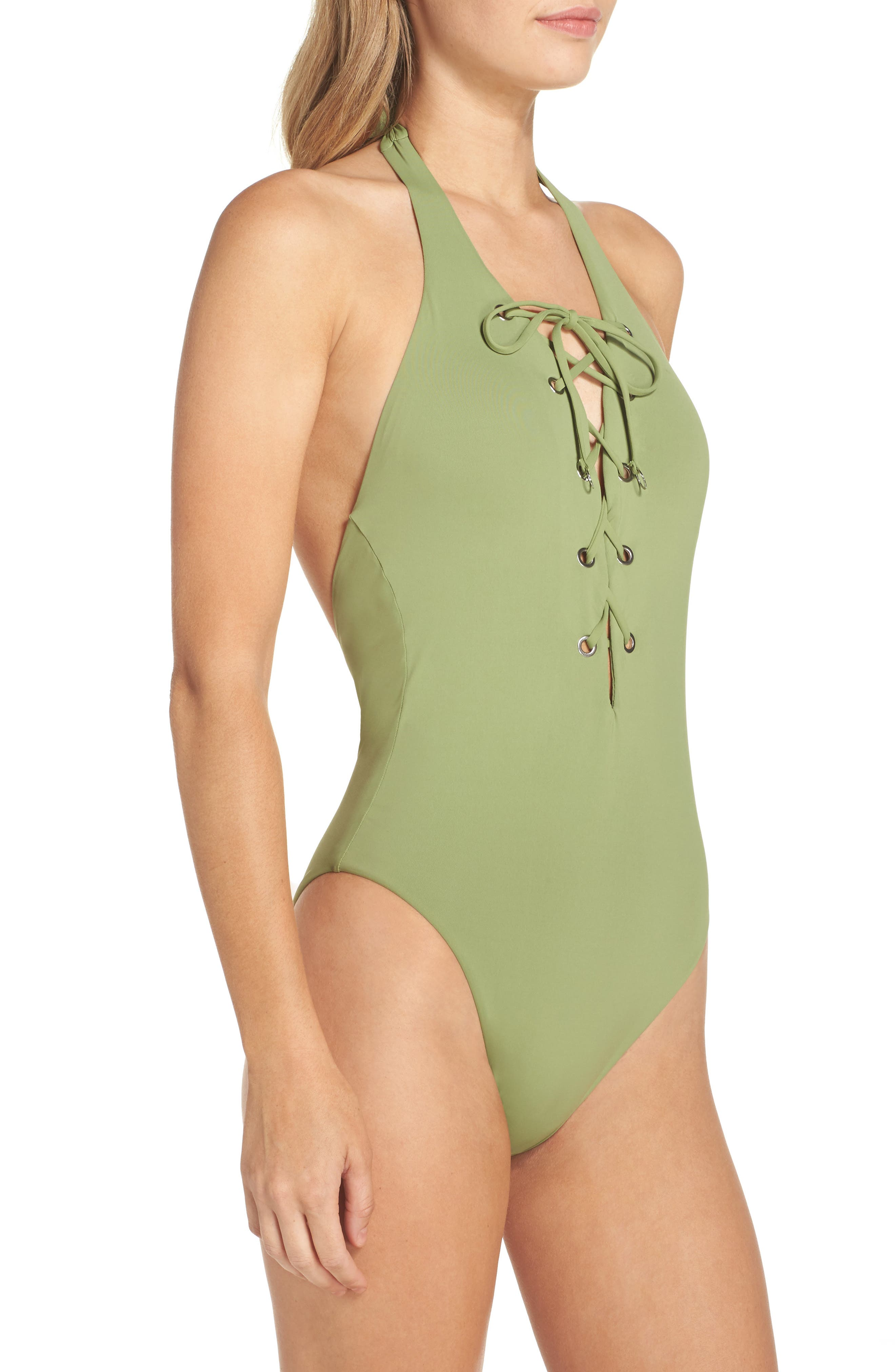 Lace-Up One-Piece Halter Swimsuit,                             Alternate thumbnail 3, color,                             Moss