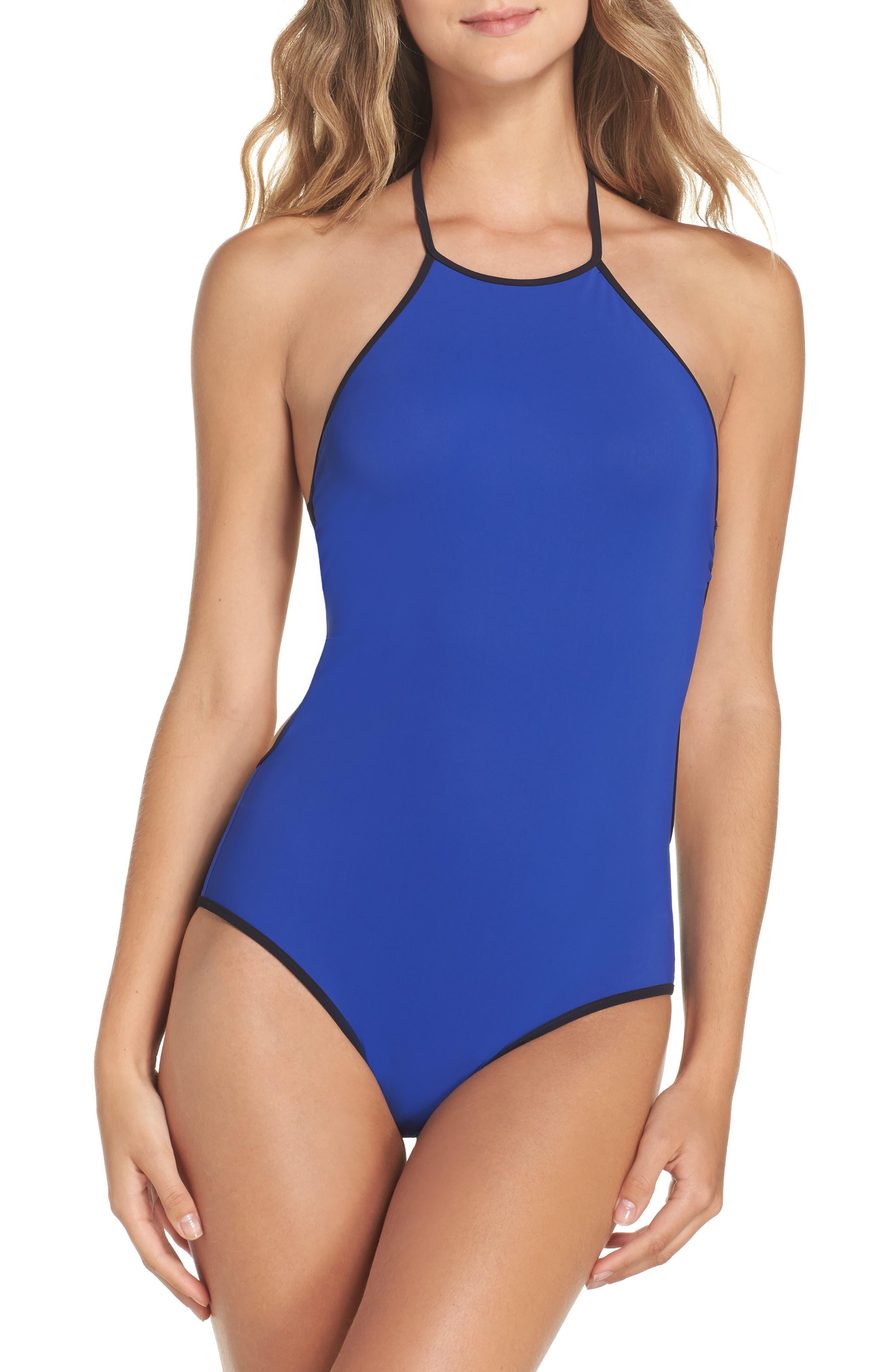 Halter One-Piece Swimsuit,                             Main thumbnail 1, color,                             Klein Blue
