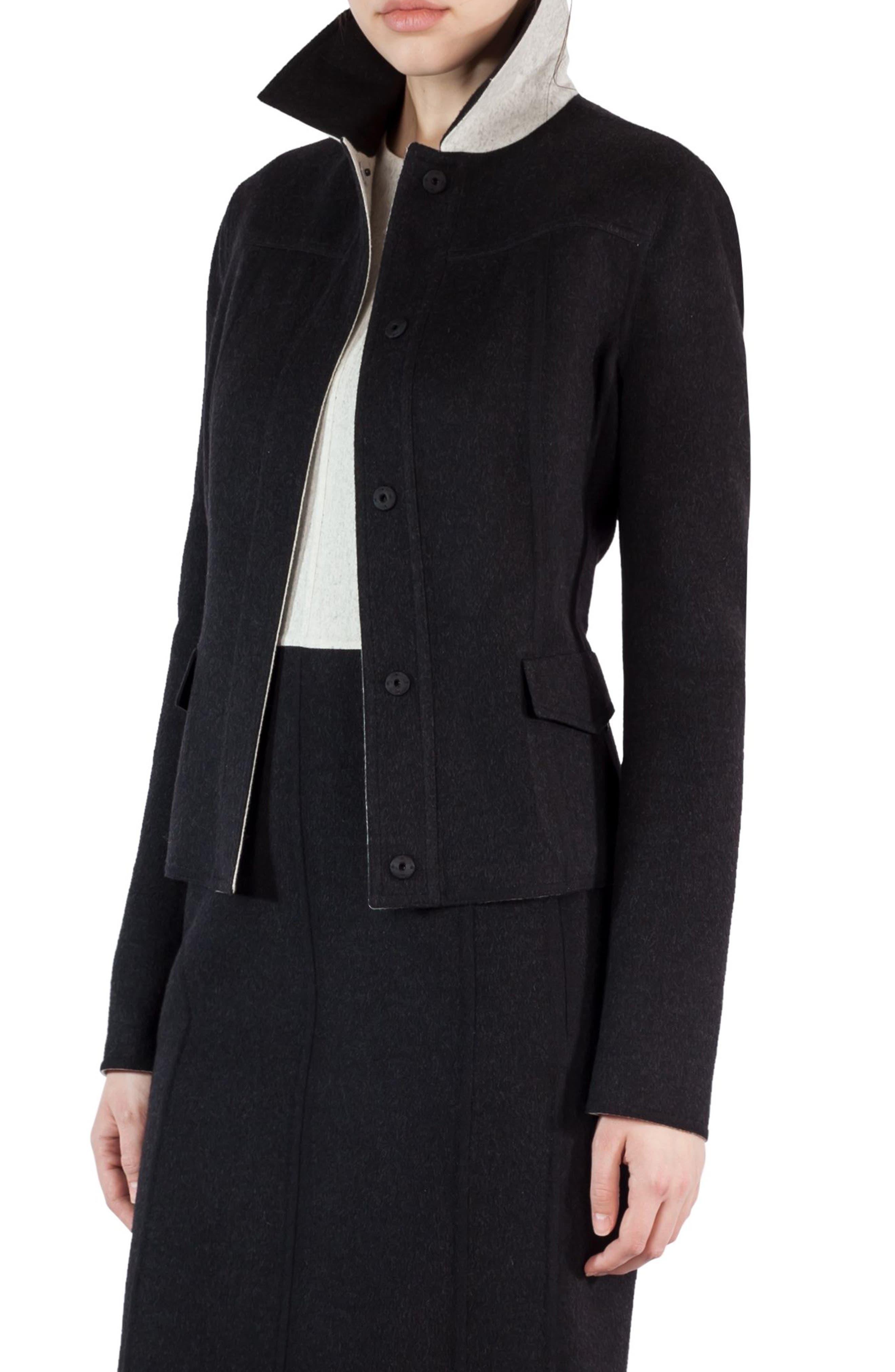 Akris Double Face Wool Reversible Bicolor Jacket