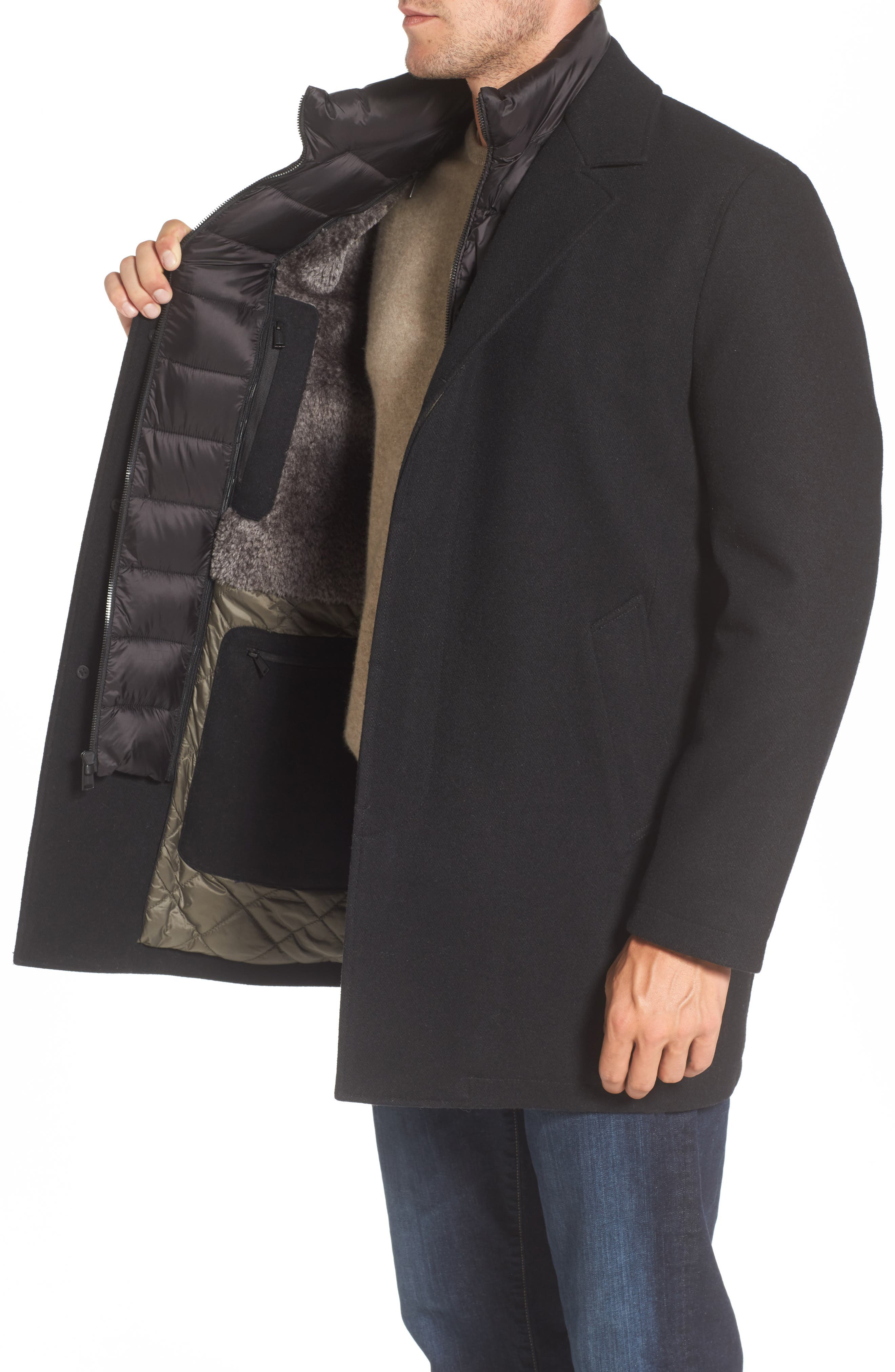 Water Repellent Jacket with Inset Bib & Faux Fur Lining,                             Alternate thumbnail 3, color,                             Black