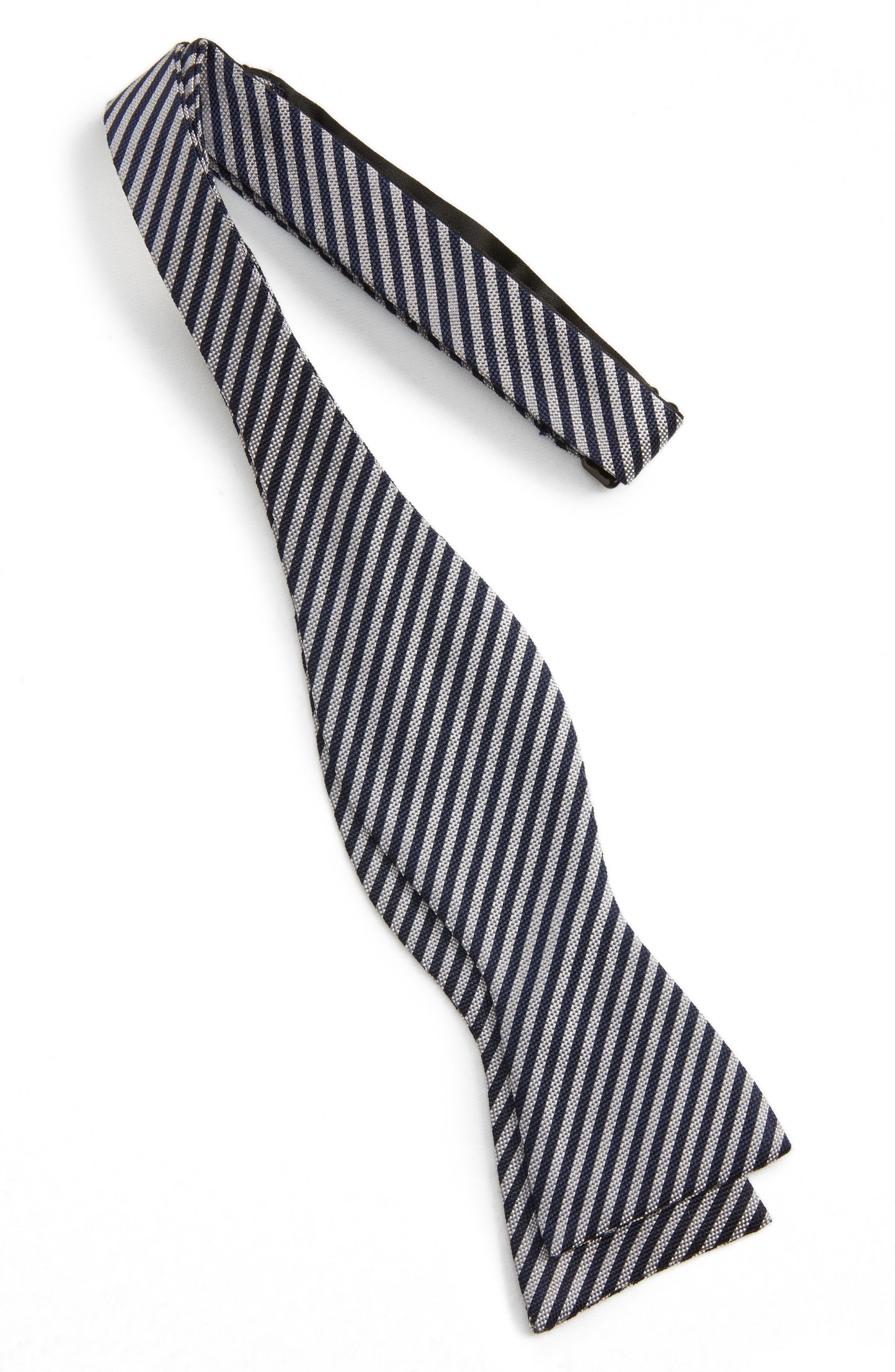 Micro Oxford Stripe Silk Bow Tie,                             Alternate thumbnail 2, color,                             Charcoal