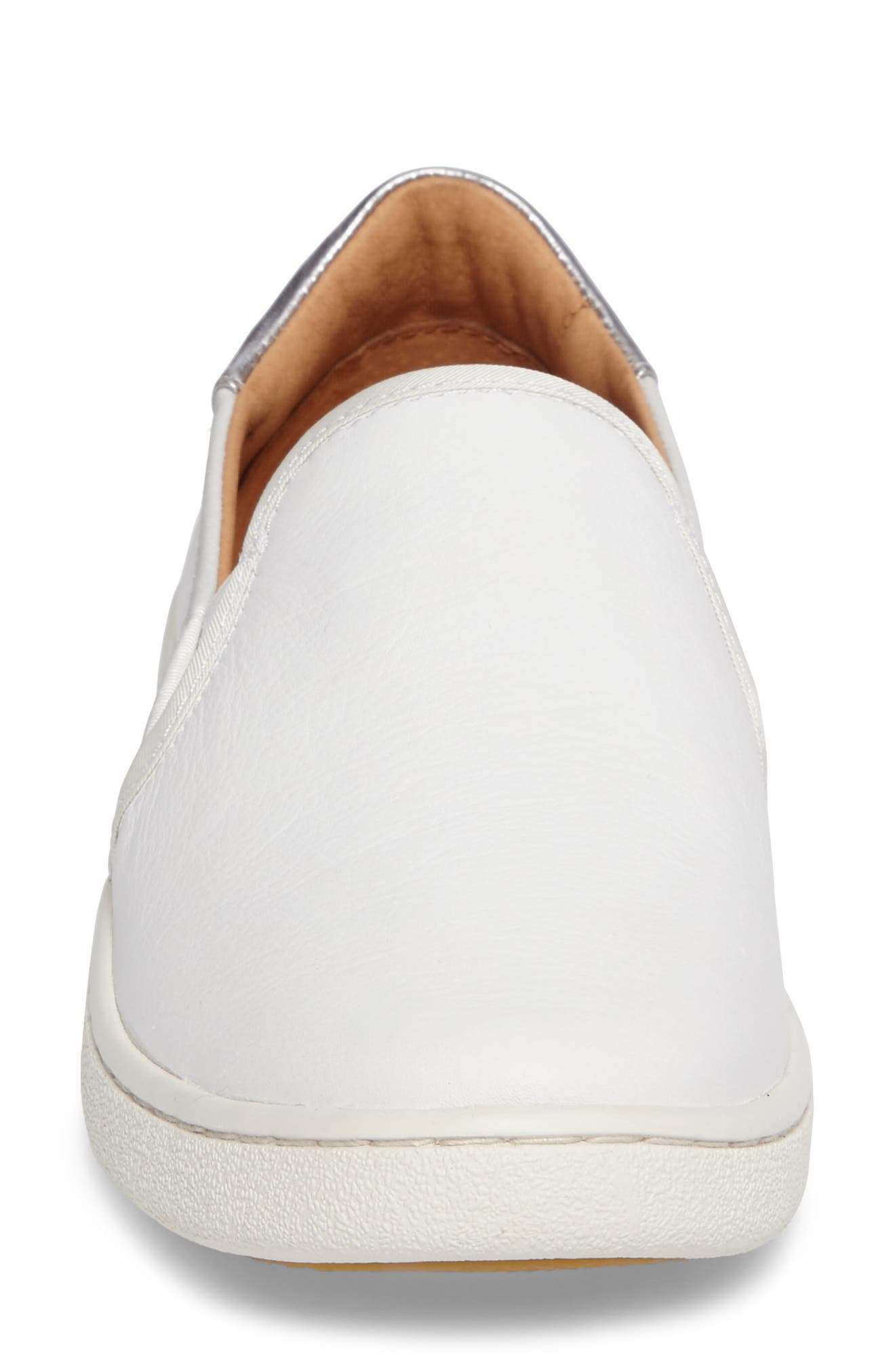 Cas Slip-On Sneaker,                             Alternate thumbnail 4, color,                             White Leather
