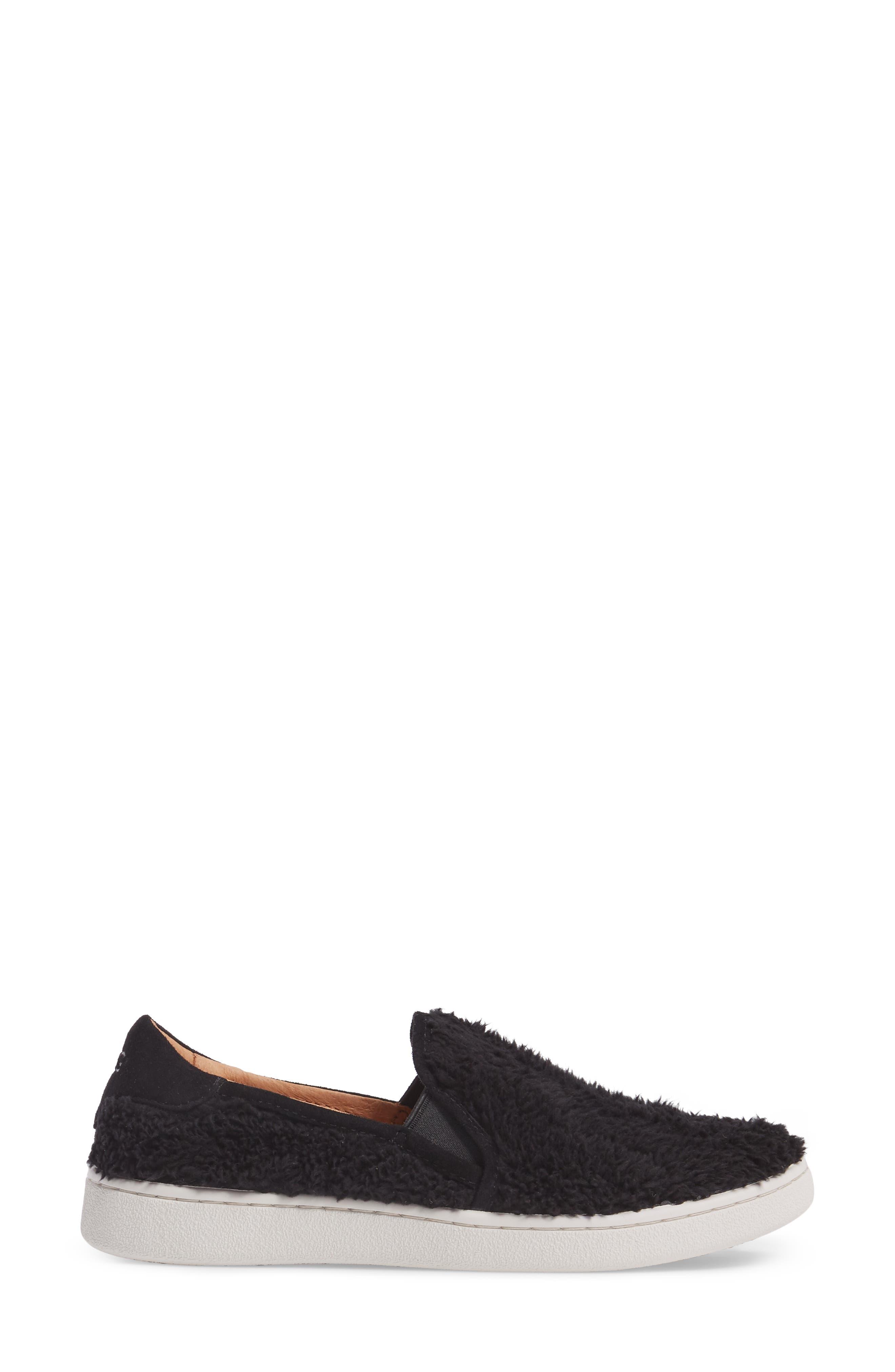 Ricci Plush Slip-On Sneaker,                             Alternate thumbnail 3, color,                             Black Fabric