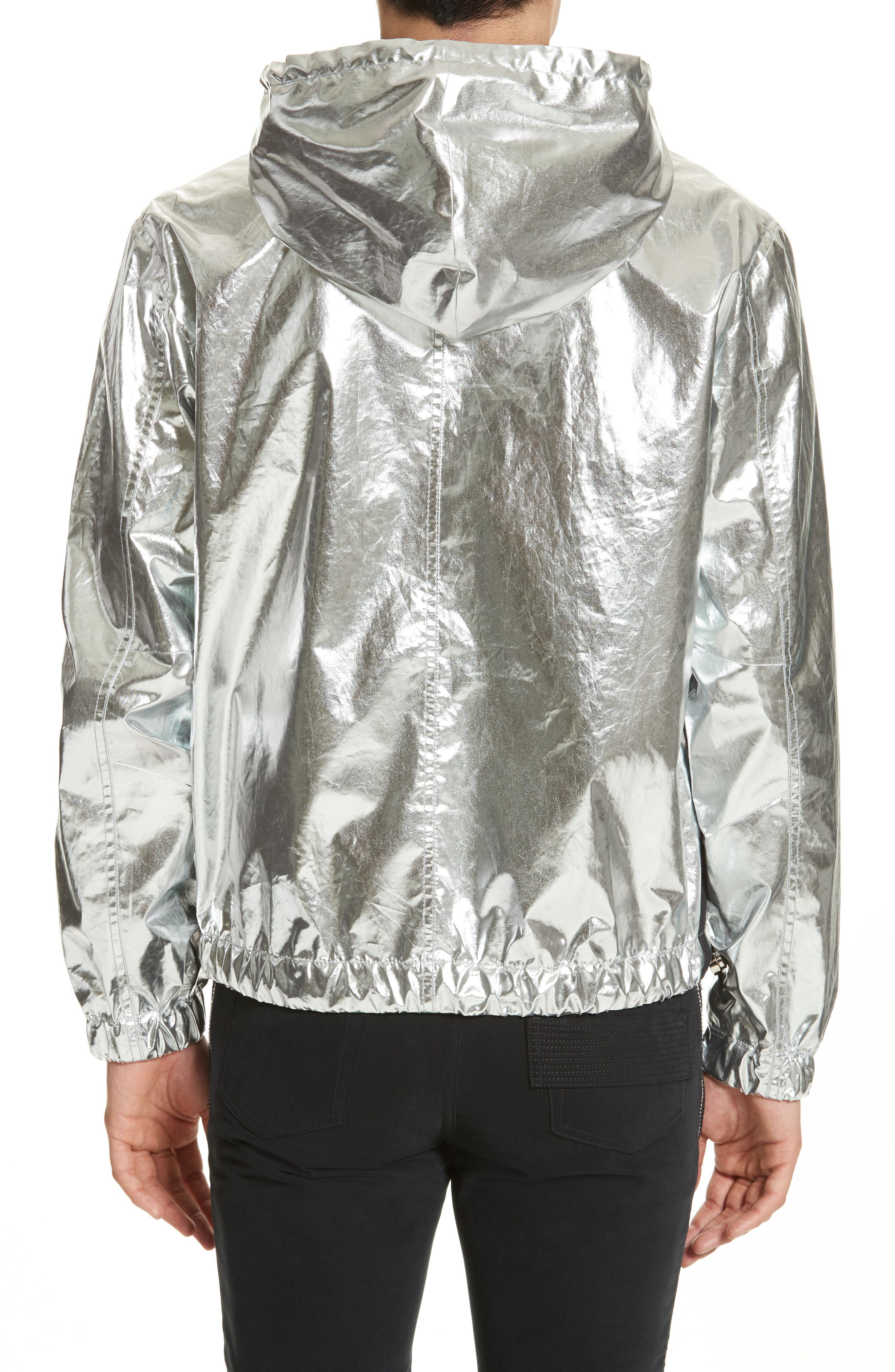 Zip Front Foil Hoodie,                             Alternate thumbnail 2, color,                             Nickel