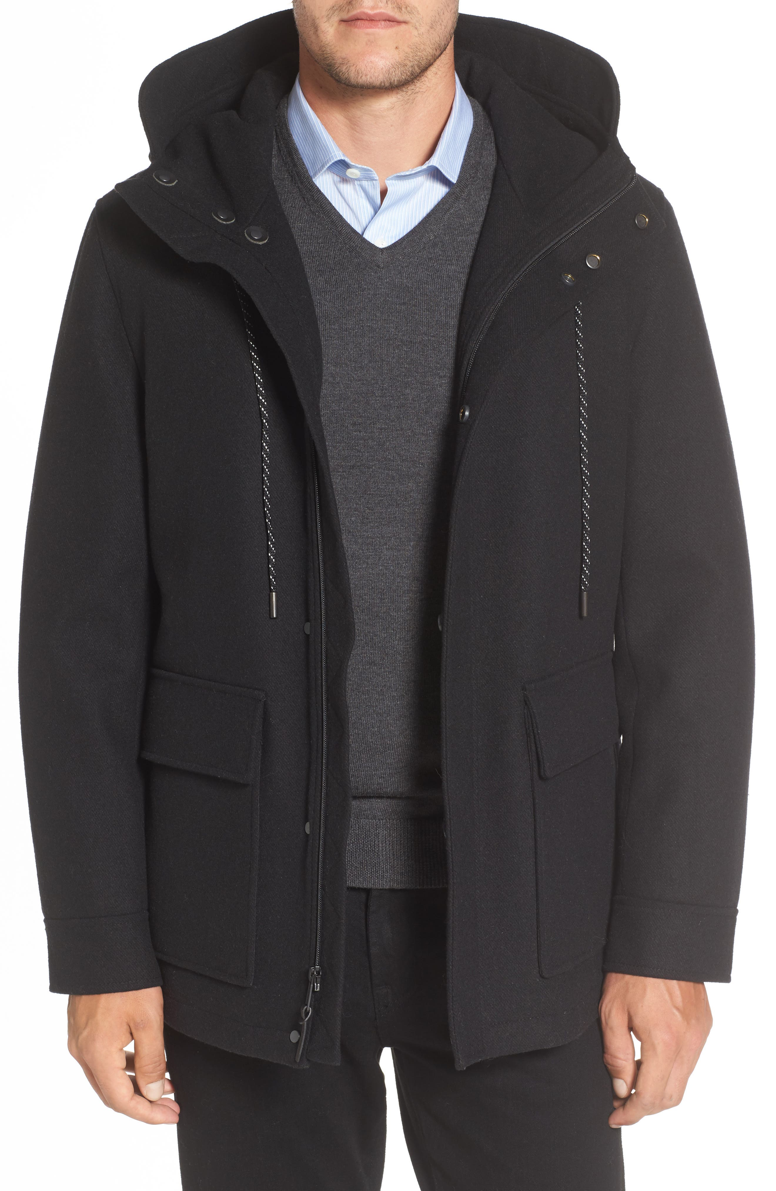 Water Repellent Hooded Wool Jacket,                         Main,                         color, Black