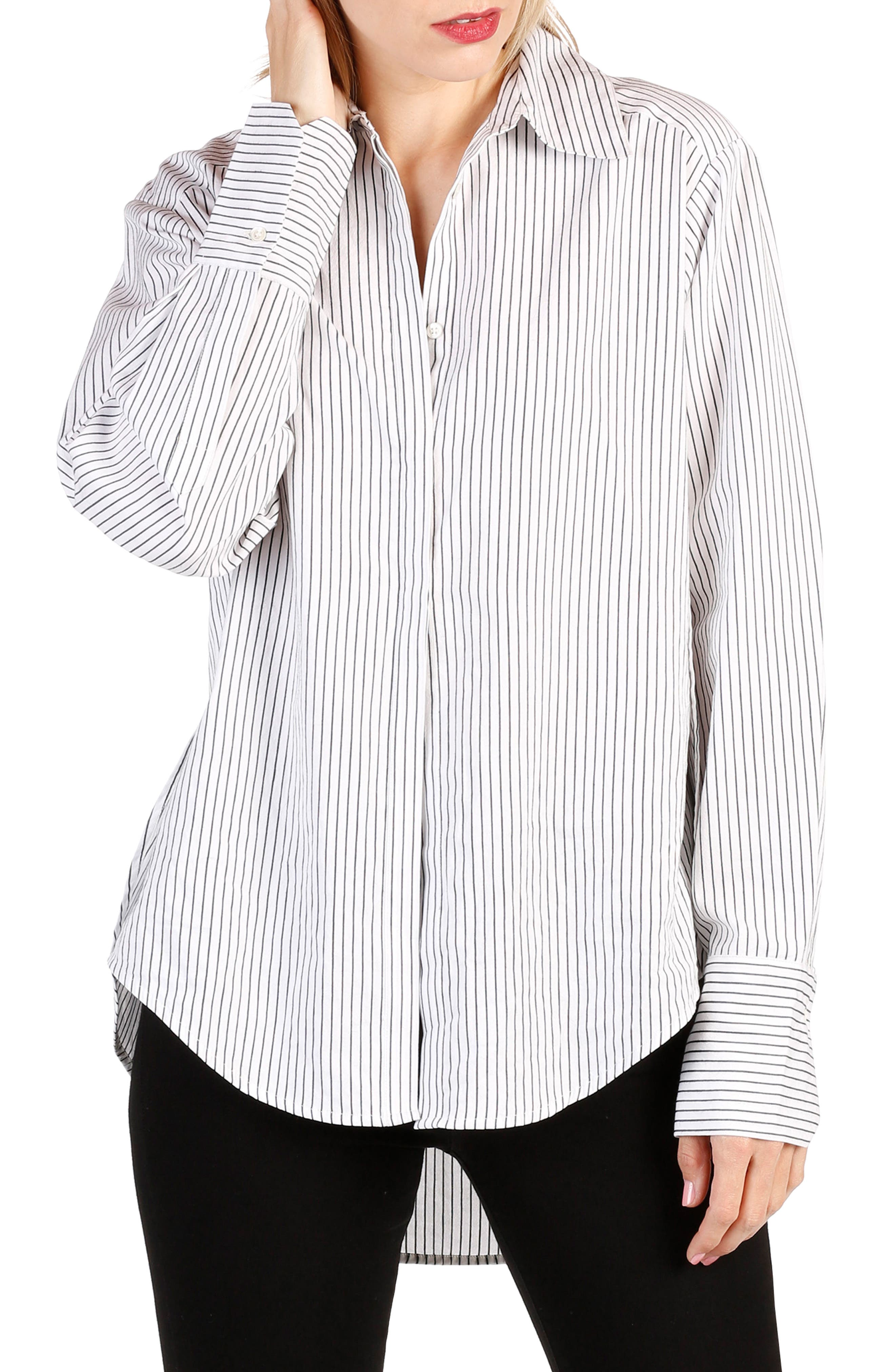 Clemence Stripe Shirt,                             Main thumbnail 1, color,                             Black And White Stripe
