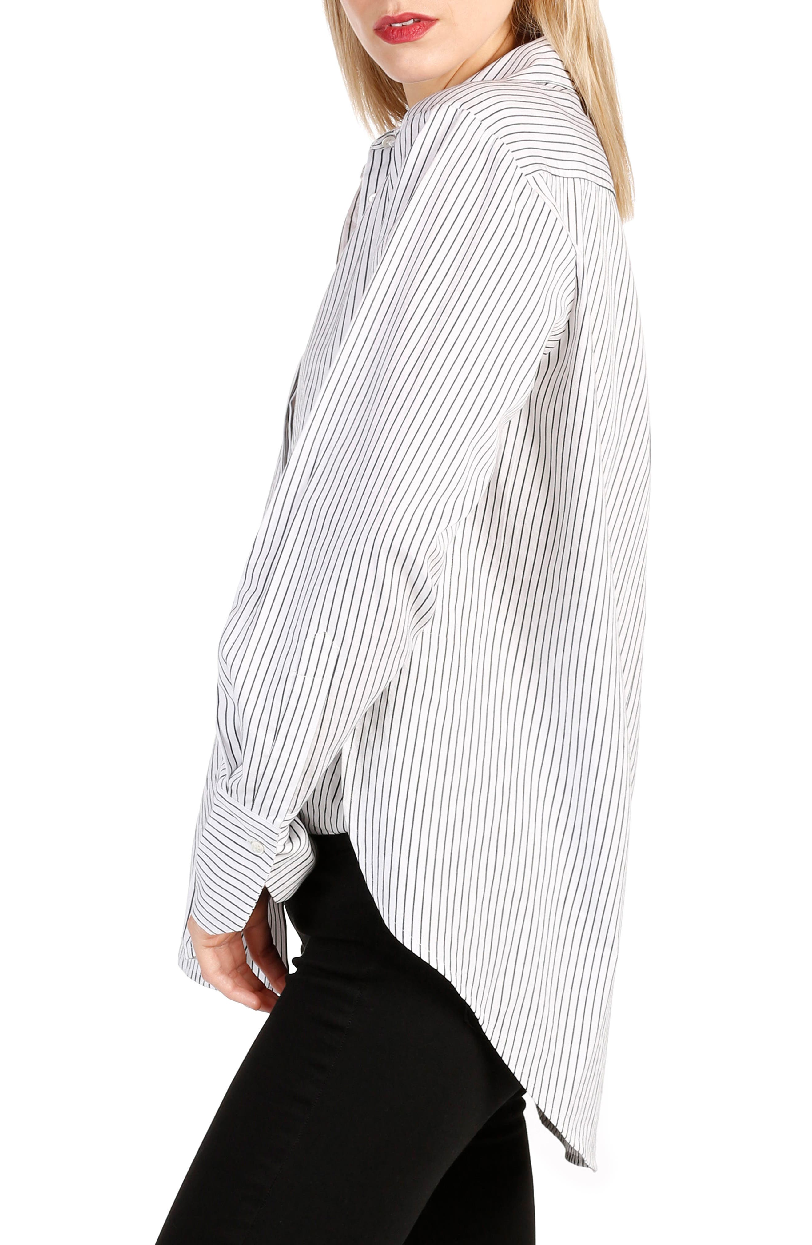 Clemence Stripe Shirt,                             Alternate thumbnail 3, color,                             Black And White Stripe