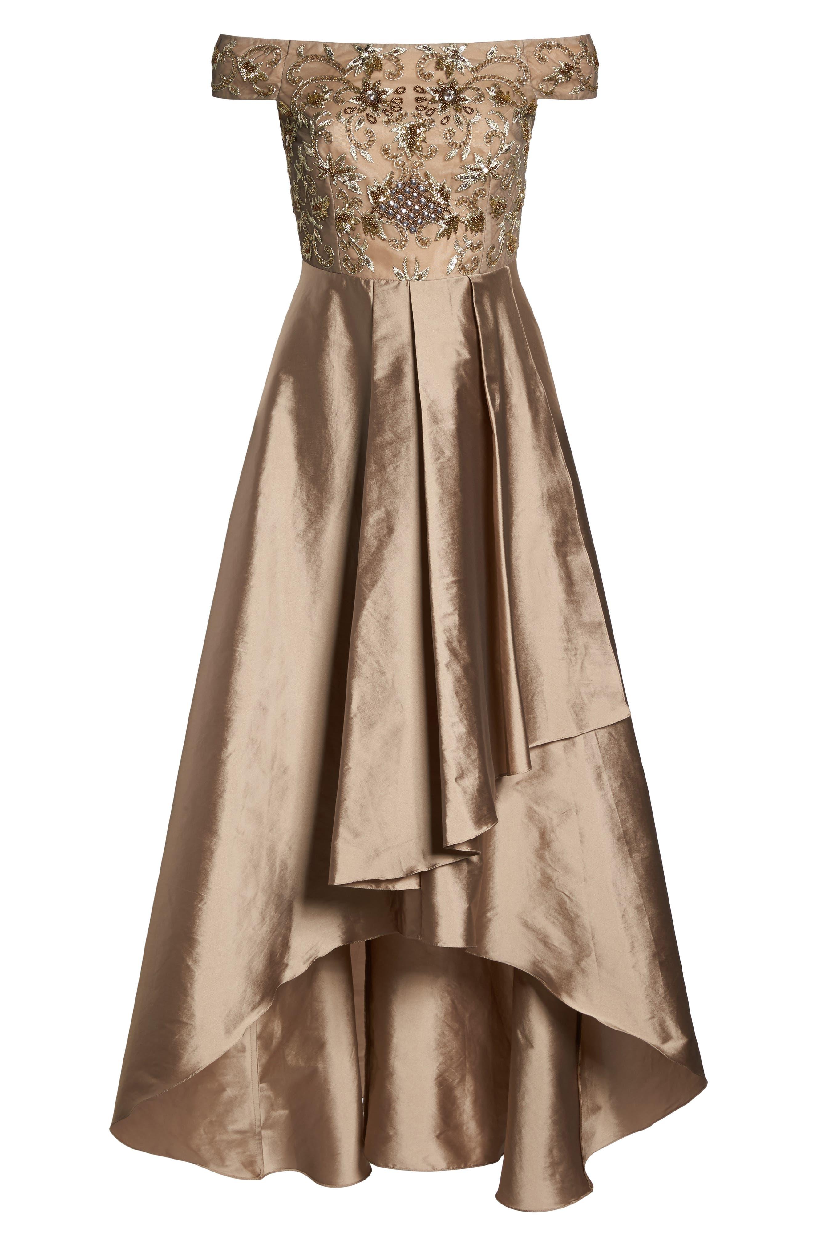 Alternate Image 6  - Adrianna Papell Embellished High/Low Off the Shoulder Dress