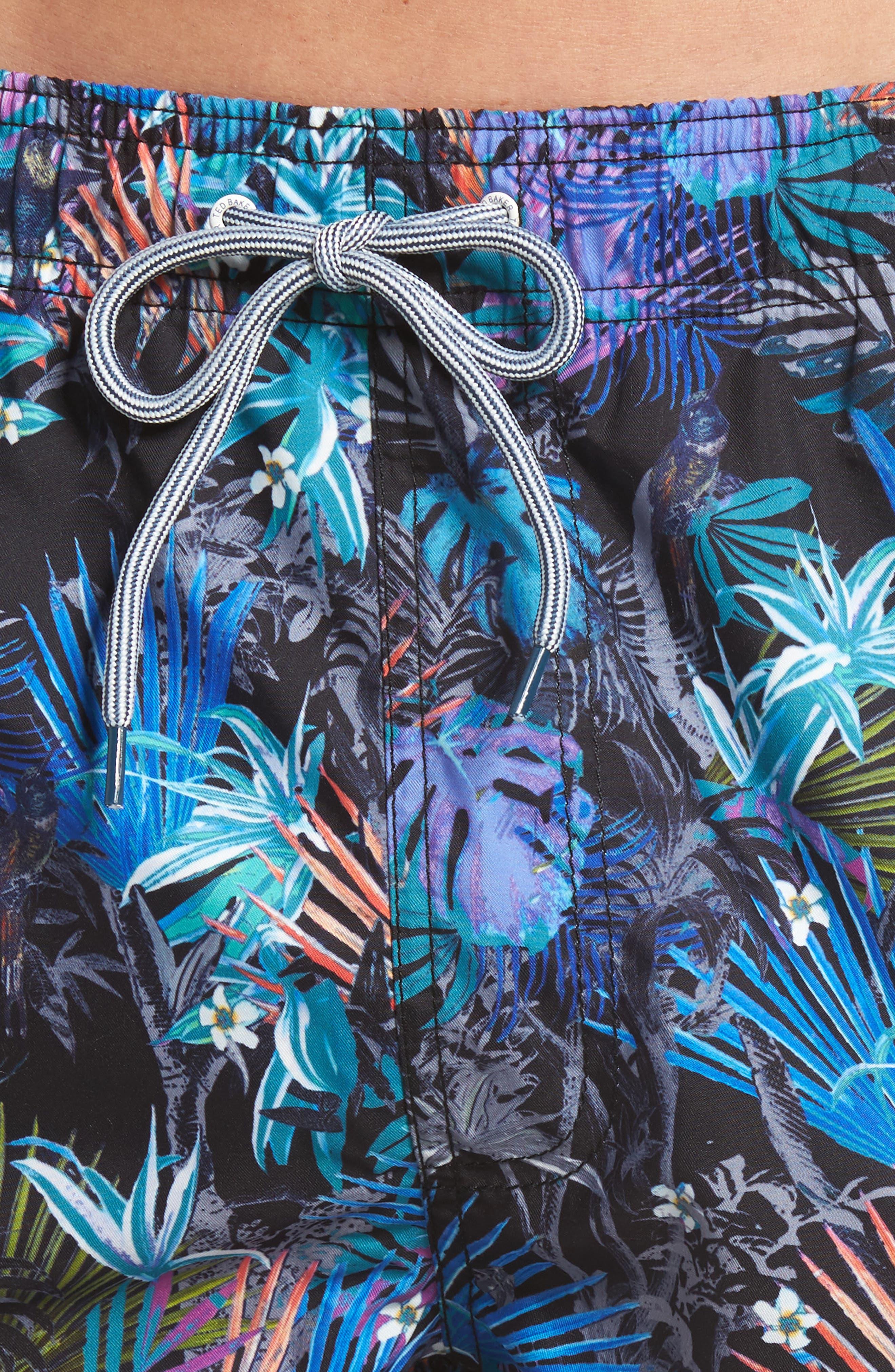 Jungle Floral Print Swim Trunks,                             Alternate thumbnail 4, color,                             Black