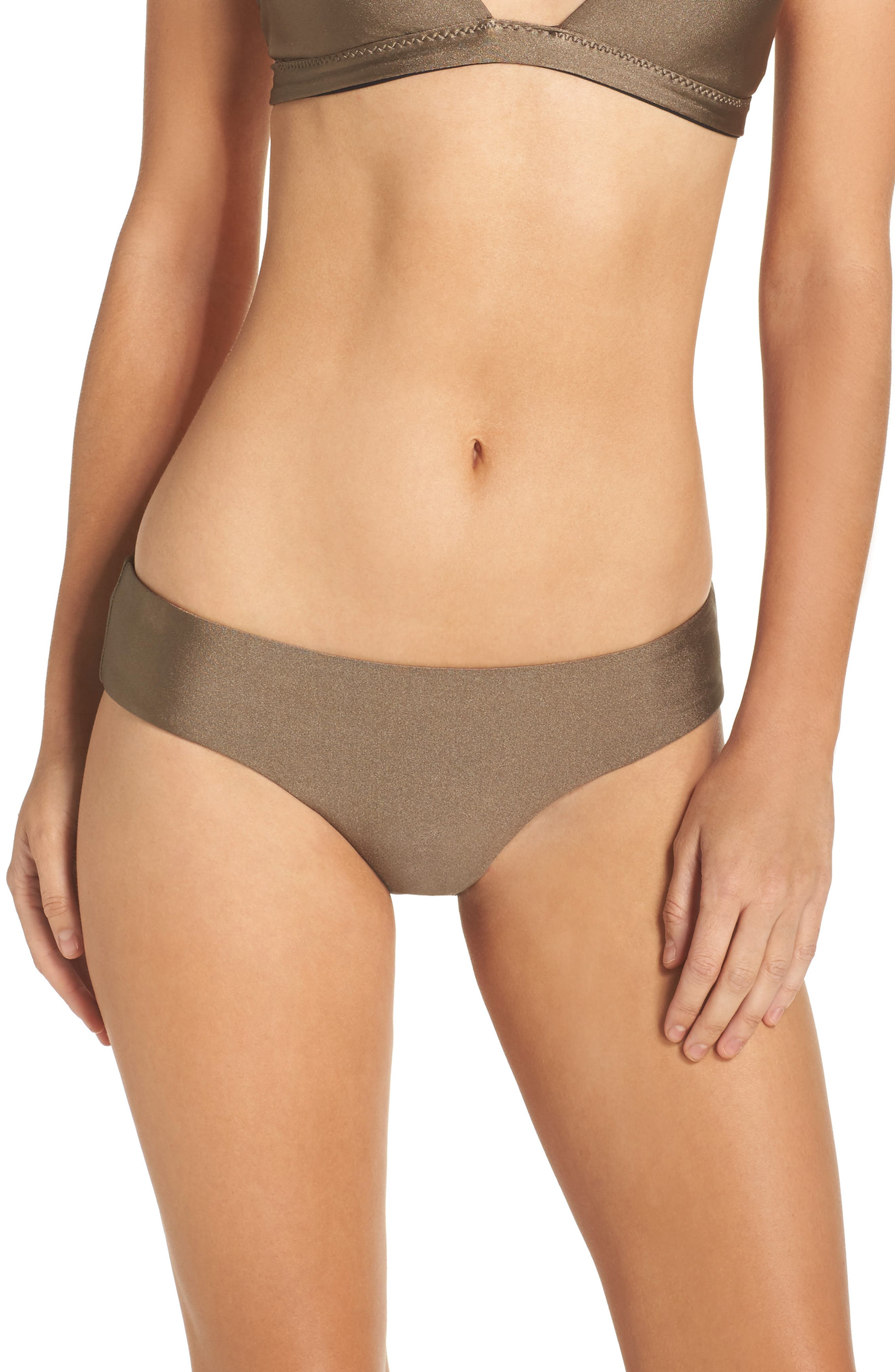 Reversible Shimmer Hipster Bikini Bottoms,                             Main thumbnail 1, color,                             Mink