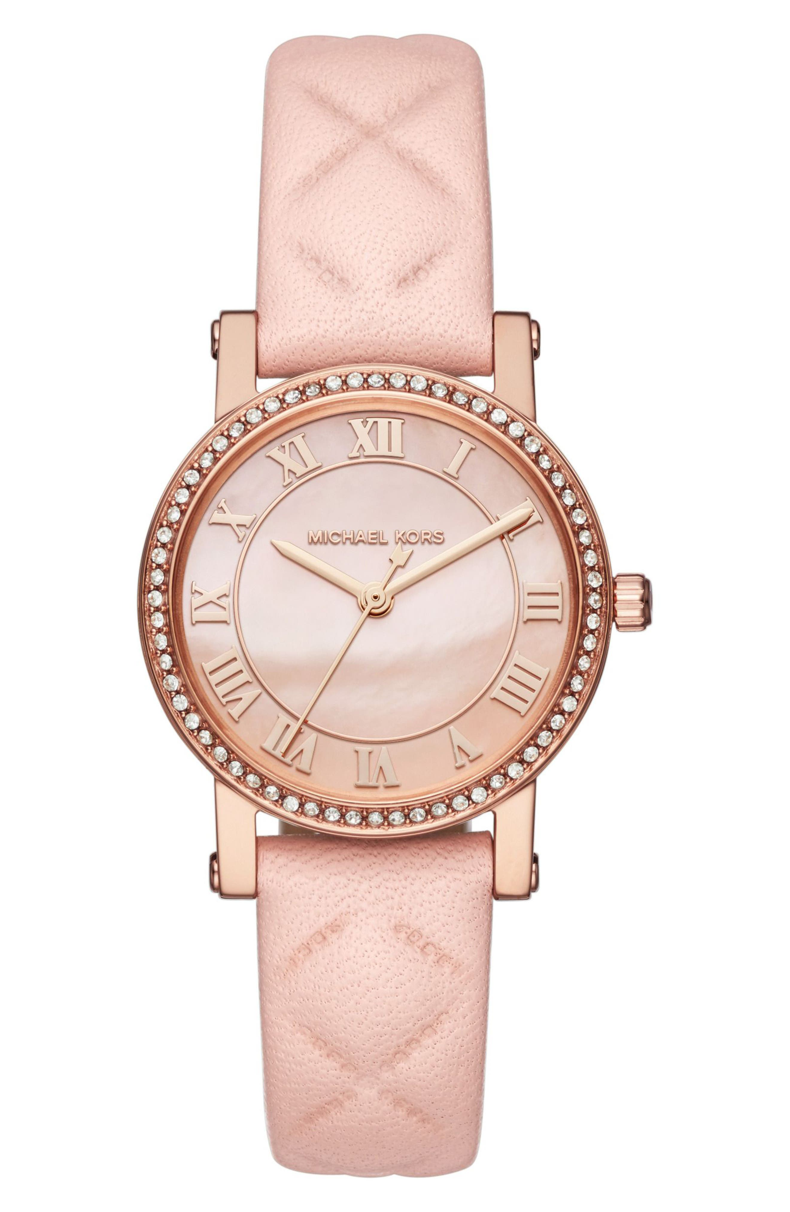 MICHAEL Michael Kors Petite Norie Crystal Accent Leather Strap Watch, 28mm,                         Main,                         color, Pink/ Rose Gold