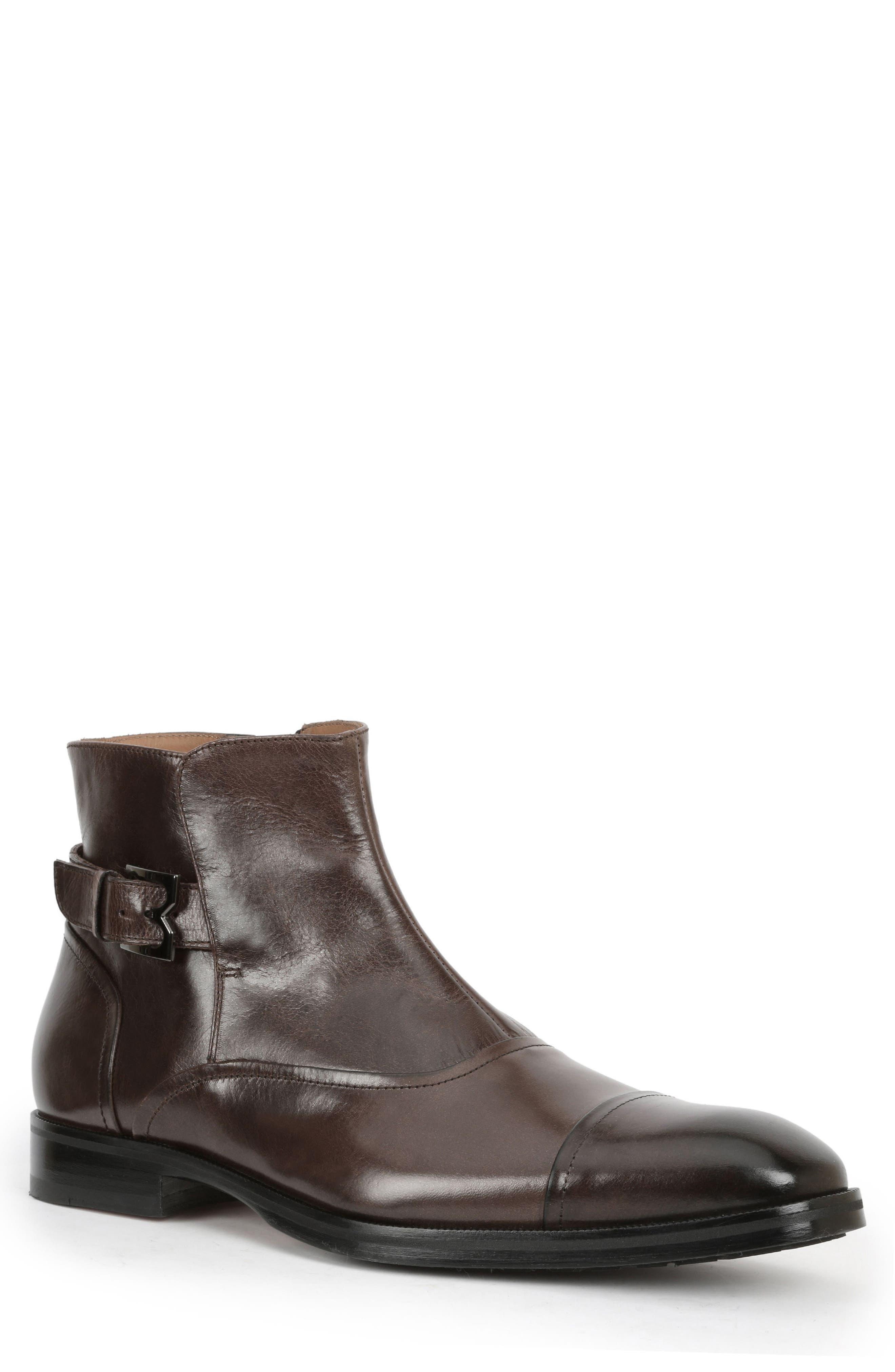 'Arcadia' Cap Toe Boot,                             Main thumbnail 1, color,                             Dark Brown Leather