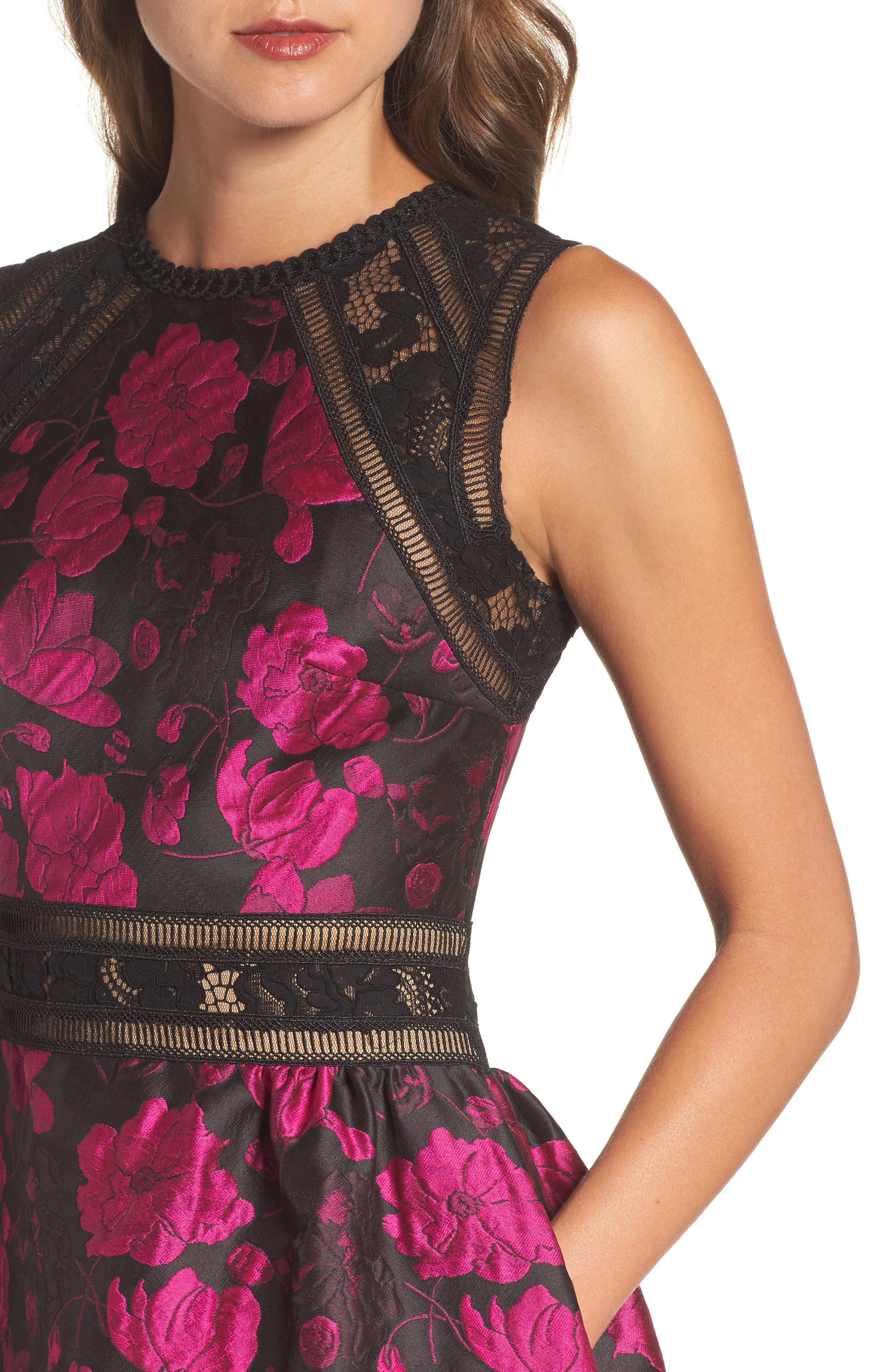 Lace Trim Rose Jacquard Midi Dress,                             Alternate thumbnail 4, color,                             Fuchsia/ Black