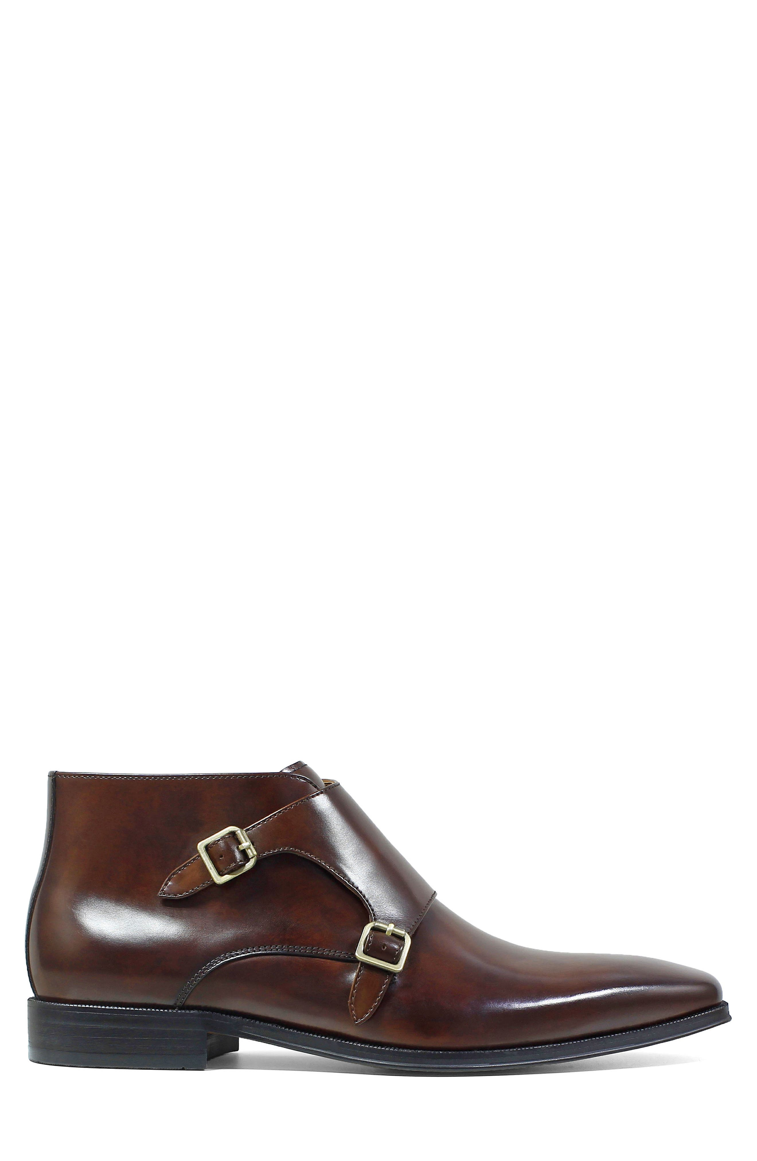 Belfast Double Monk Strap Boot,                             Alternate thumbnail 3, color,                             Brown Leather
