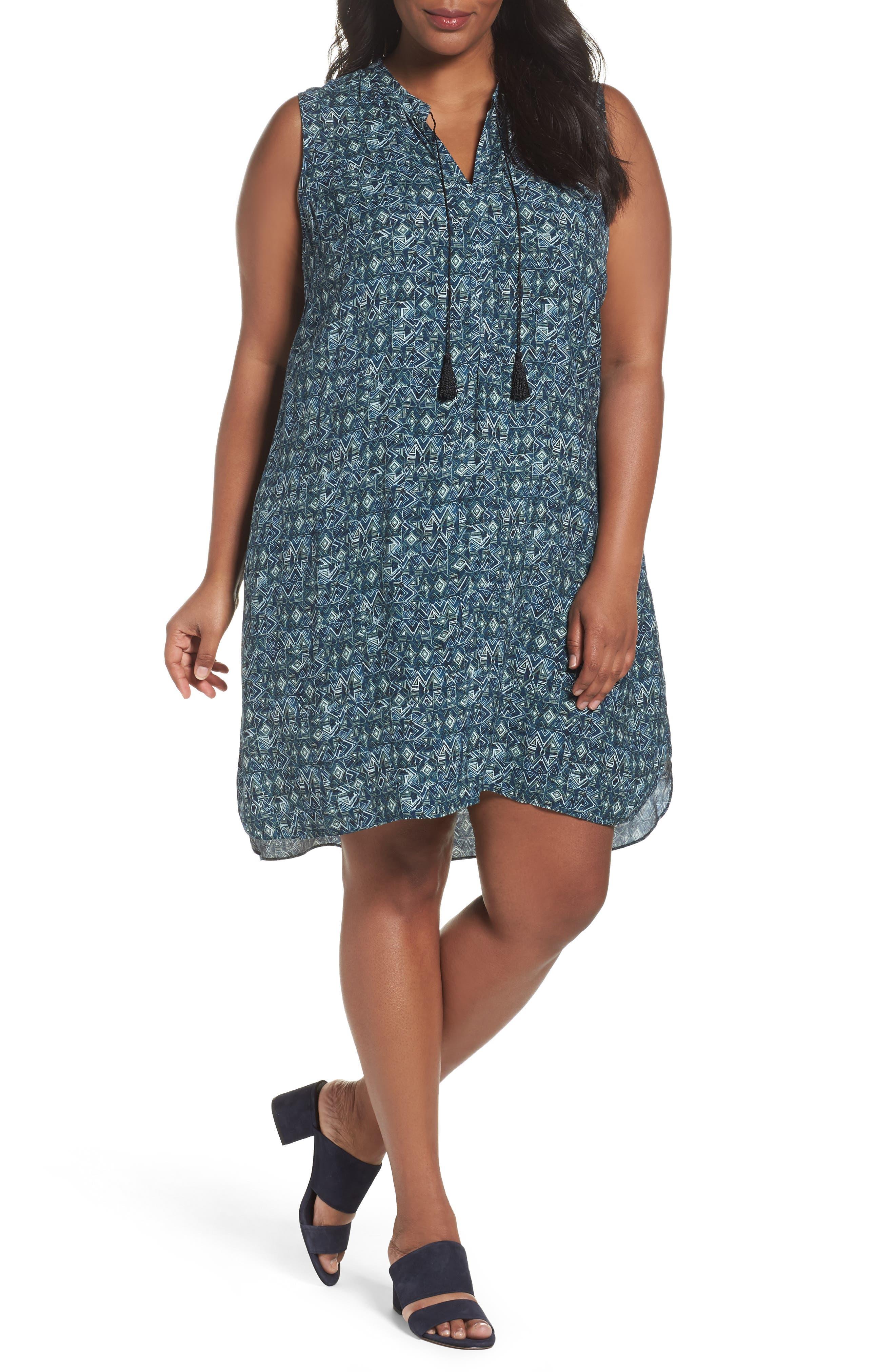 NIC+ZOE Seaglass Tassel Shift Dress (Plus Size)