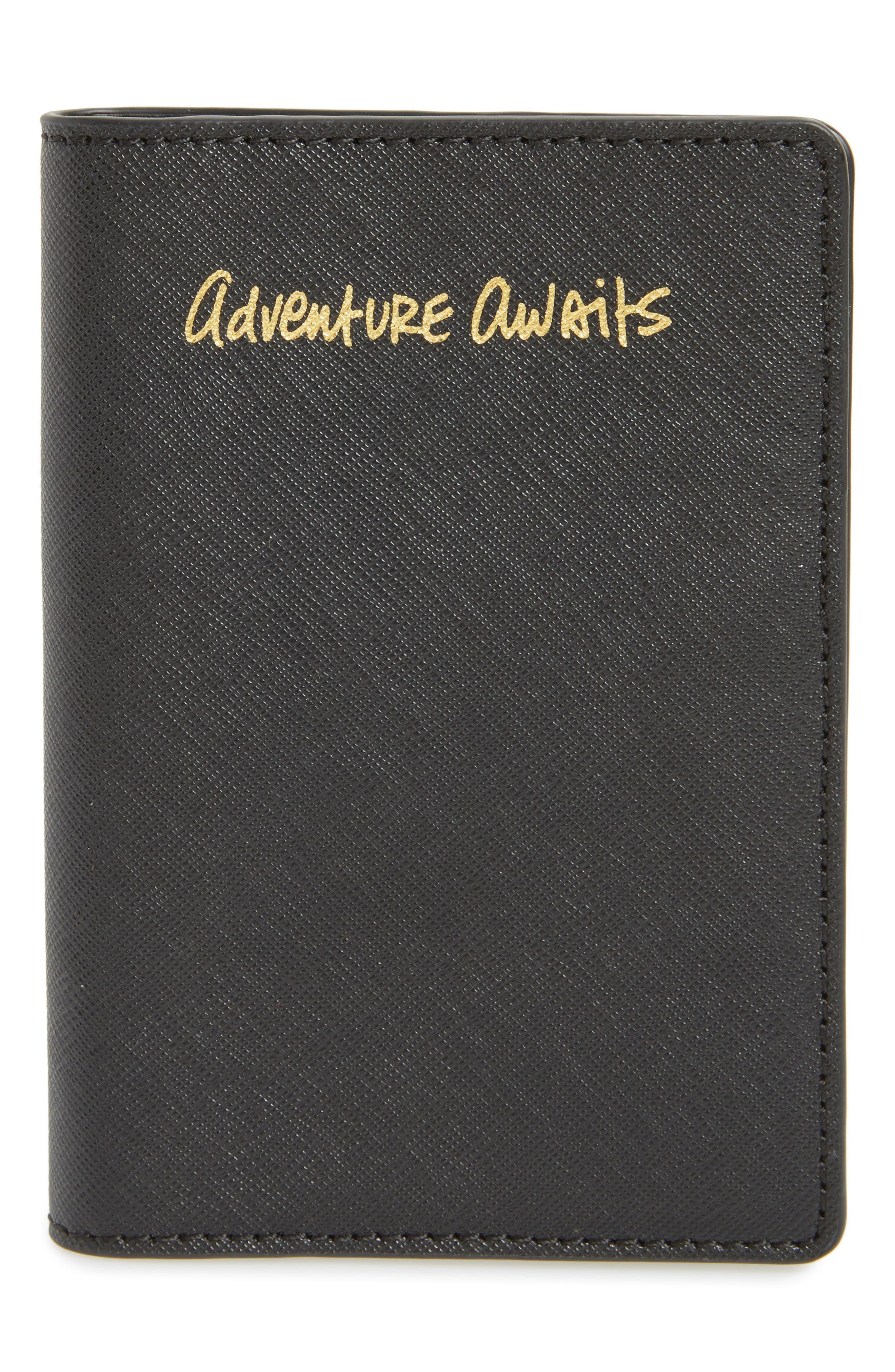 Leather Passport Holder,                         Main,                         color, Black