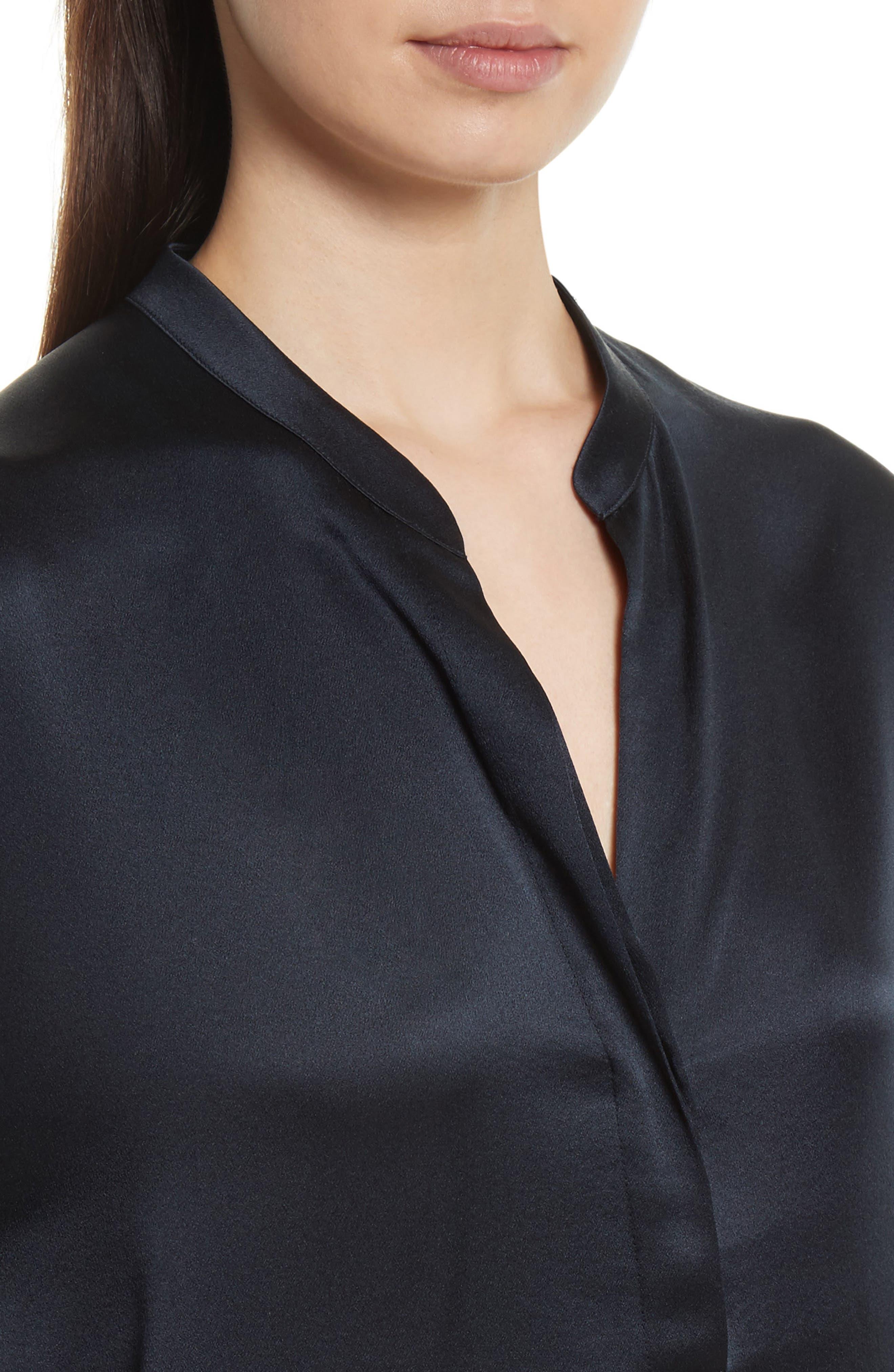 Band Collar Silk Blouse,                             Alternate thumbnail 4, color,                             Coastal