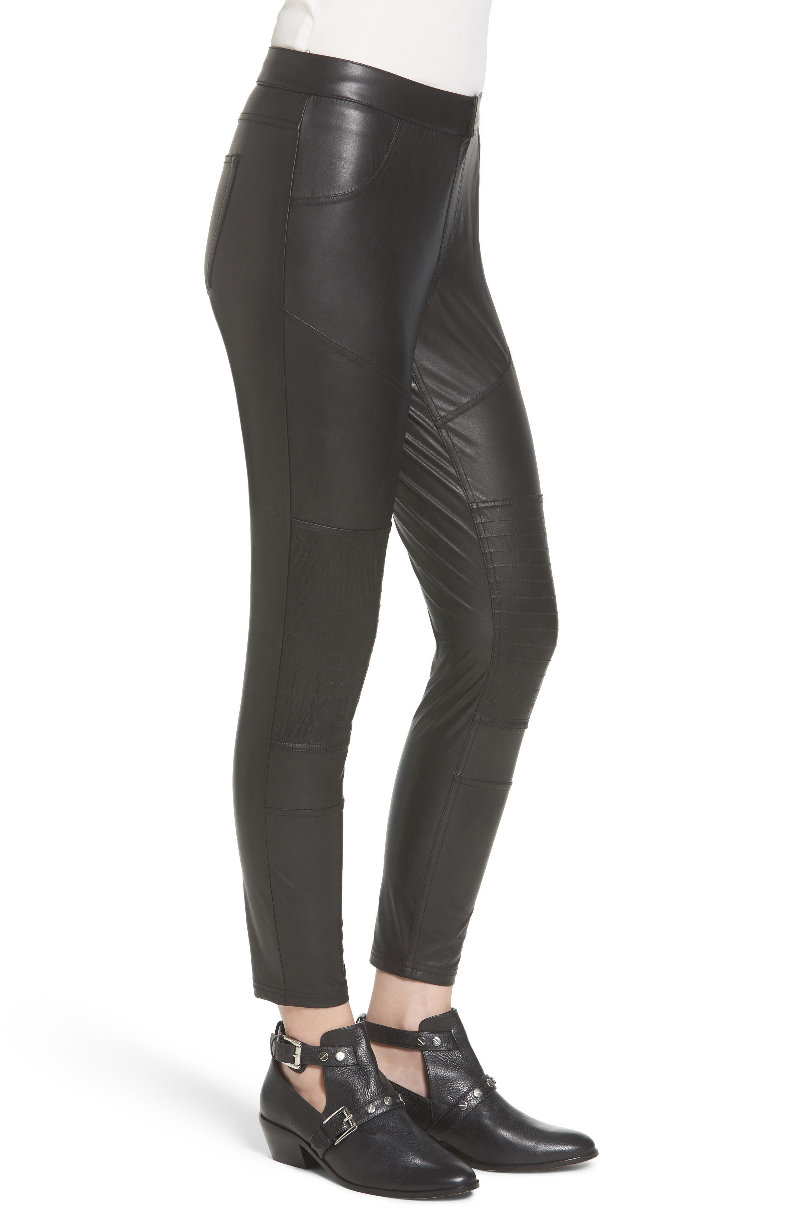 Alternate Image 3  - Hue Moto Leatherette Skimmer Leggings