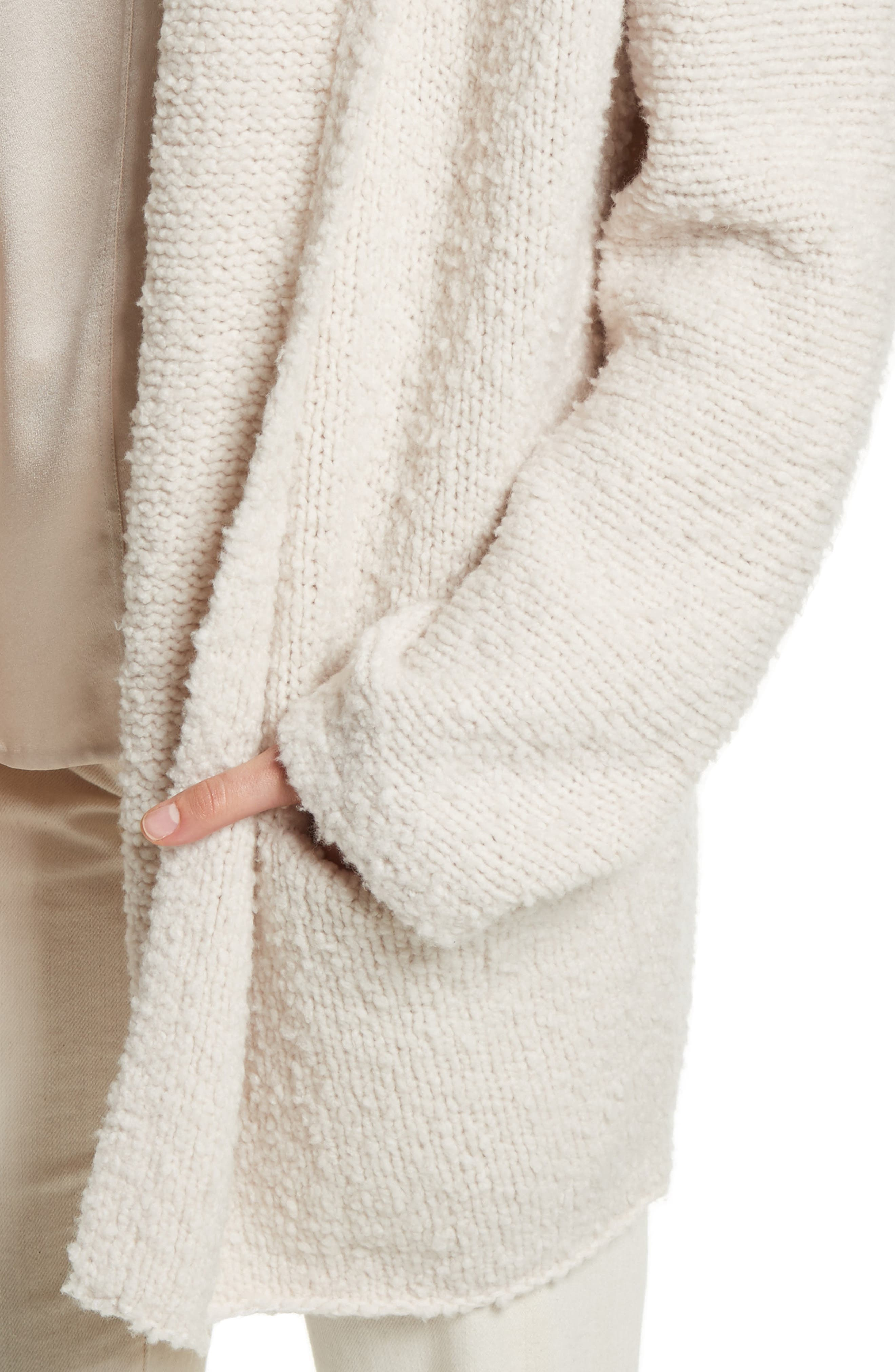 Drape Front Wool Knit Cardigan,                             Alternate thumbnail 4, color,                             Off White