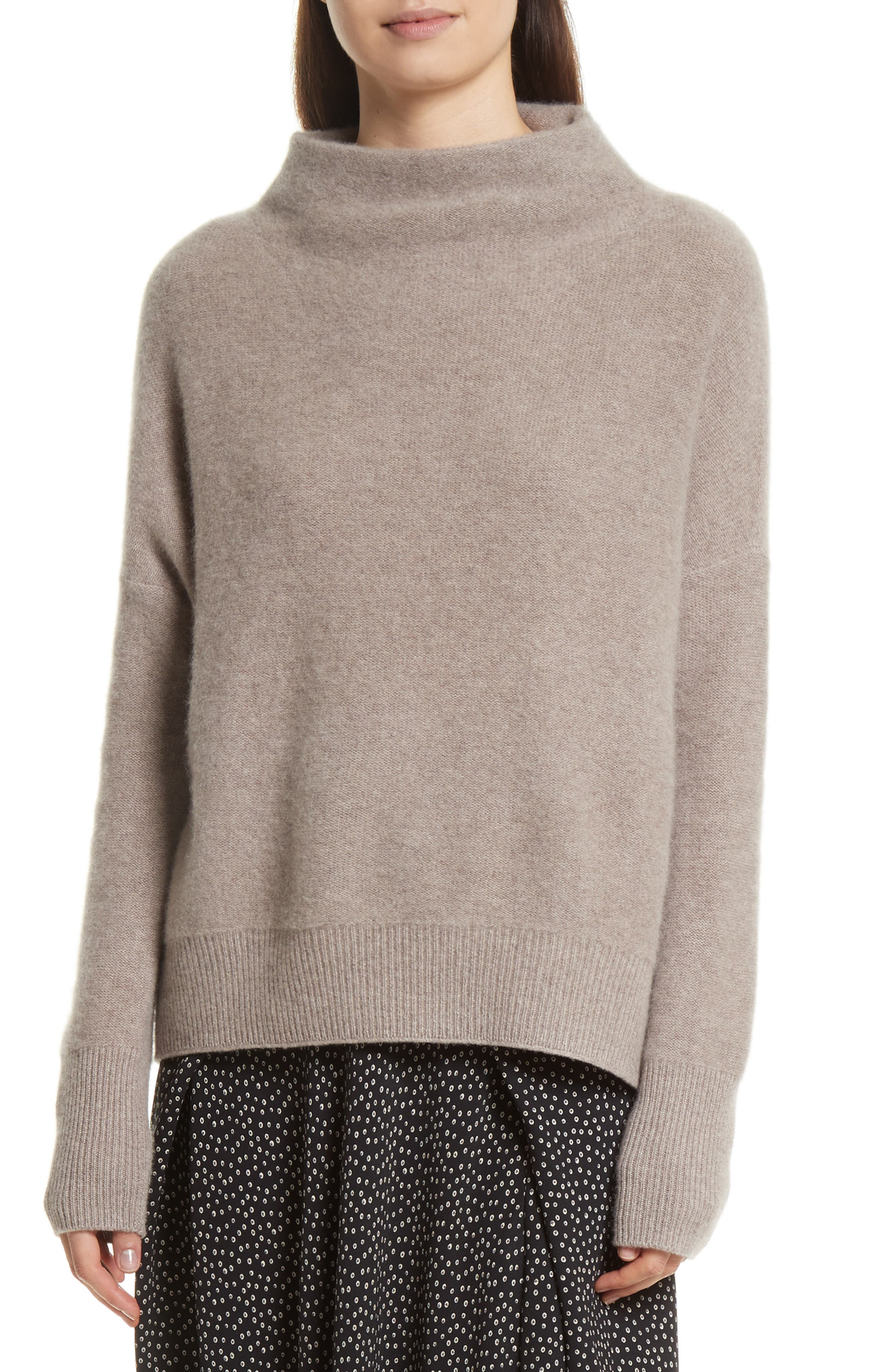 Cashmere Funnel Neck Pullover,                             Main thumbnail 1, color,                             Taupe