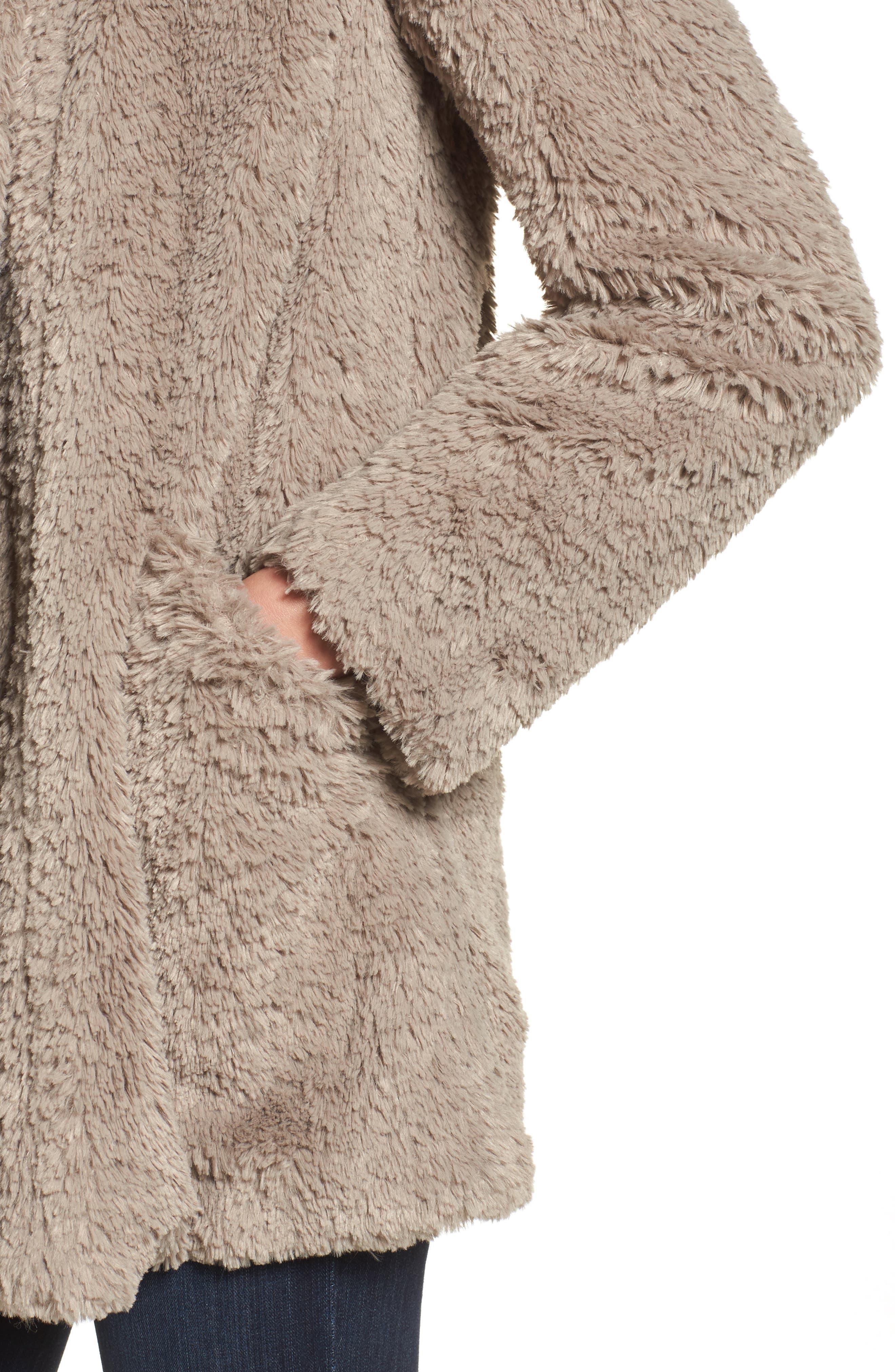 'Teddy Bear' Faux Fur Clutch Coat,                             Alternate thumbnail 4, color,                             Natural