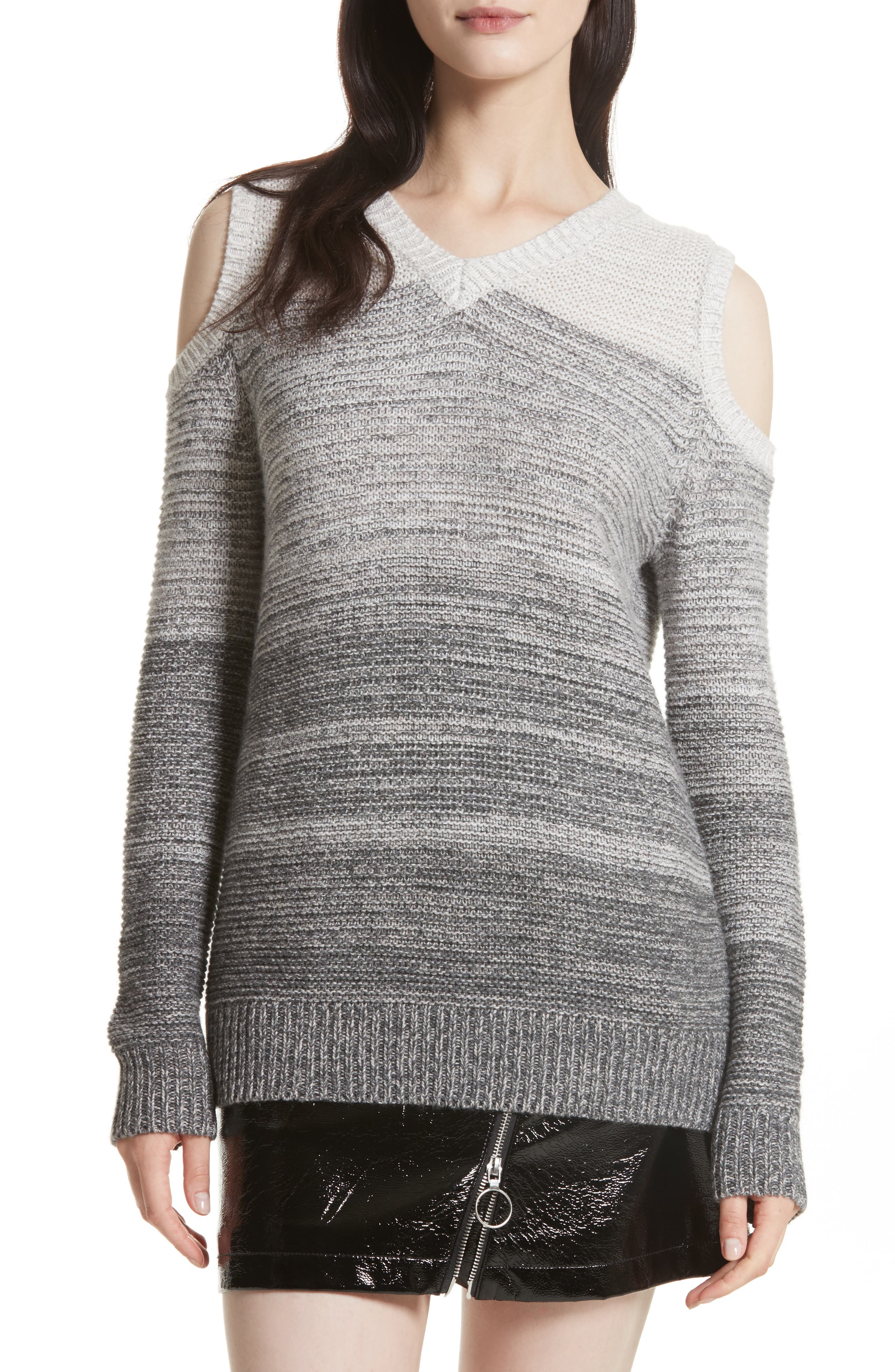 Page Cold Shoulder Sweater,                             Main thumbnail 1, color,                             Grey Ombre