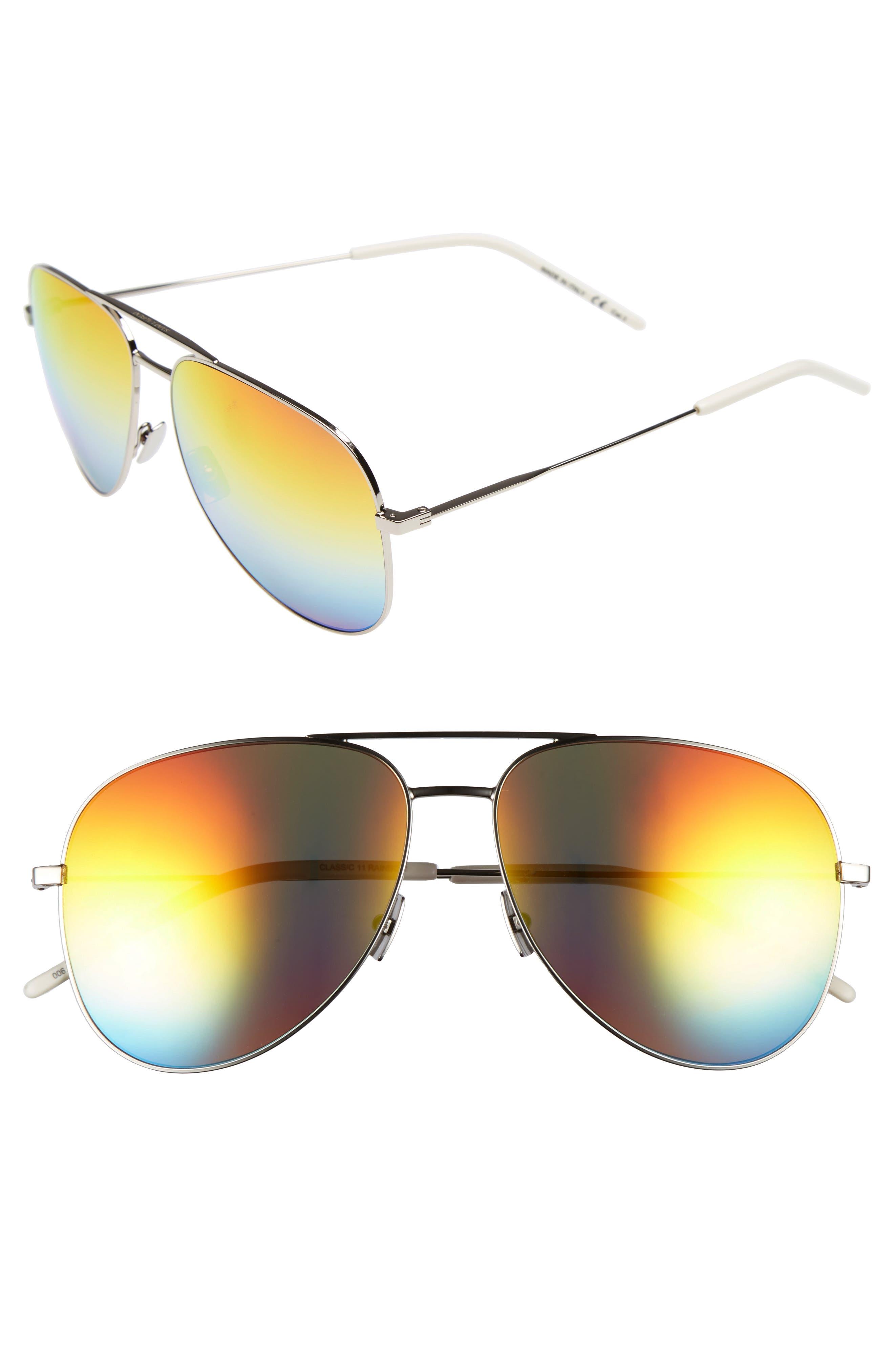 SAINT LAURENT Classic 59mm Aviator Sunglasses