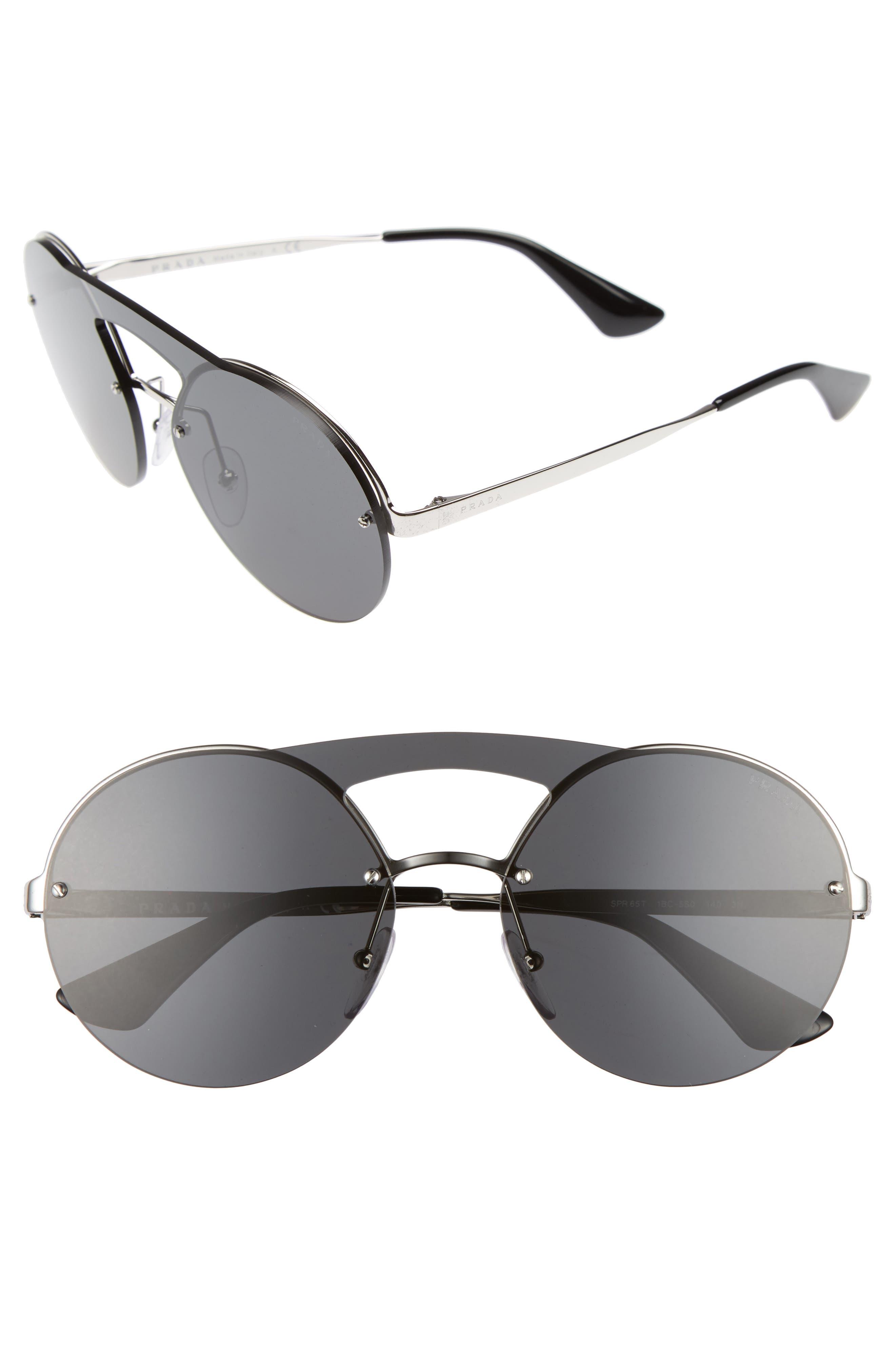 Prada 60mm Round Rimless Sunglasses