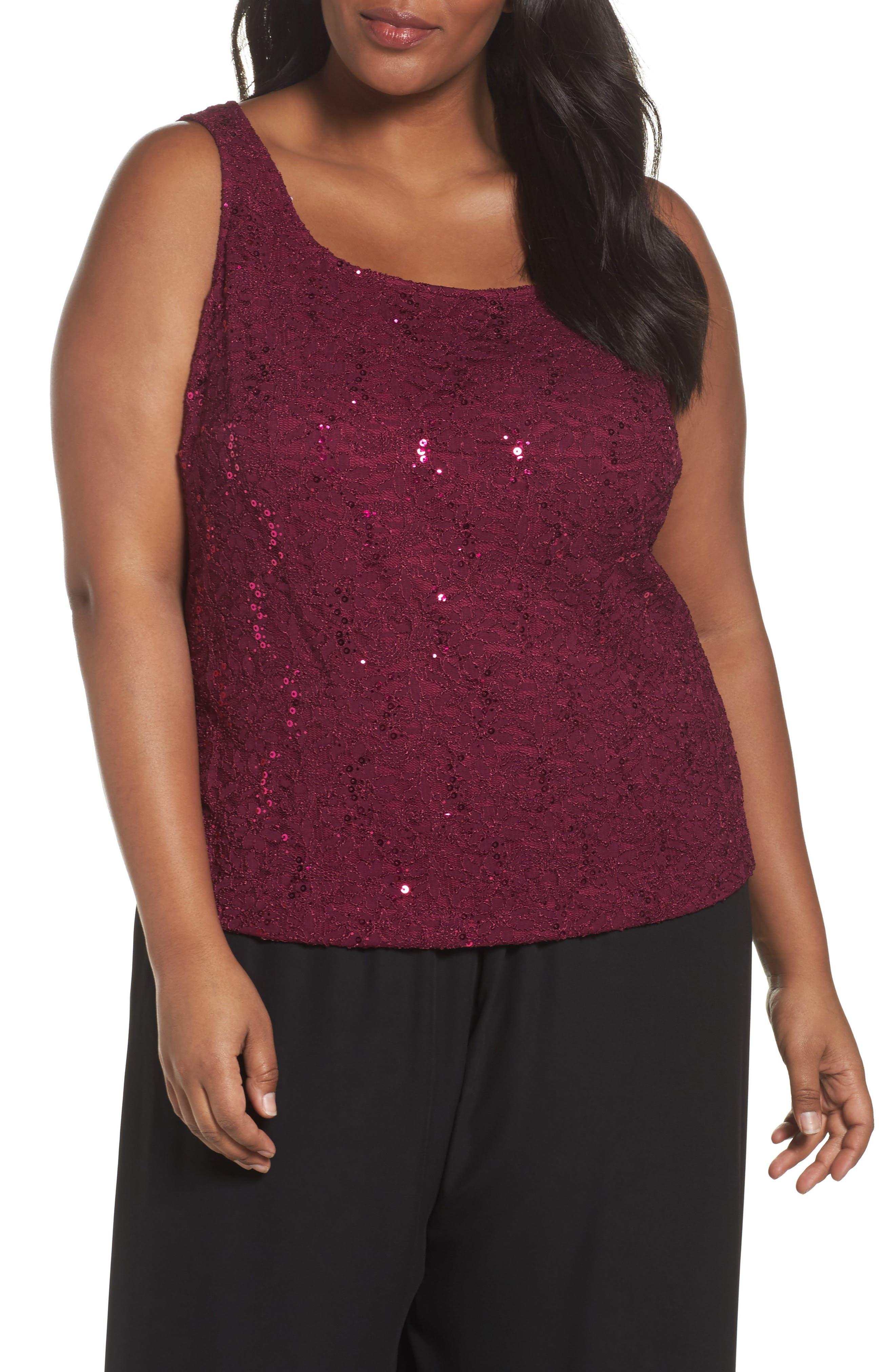 Alternate Image 4  - Alex Evenings Sequin Lace Twinset (Plus Size)