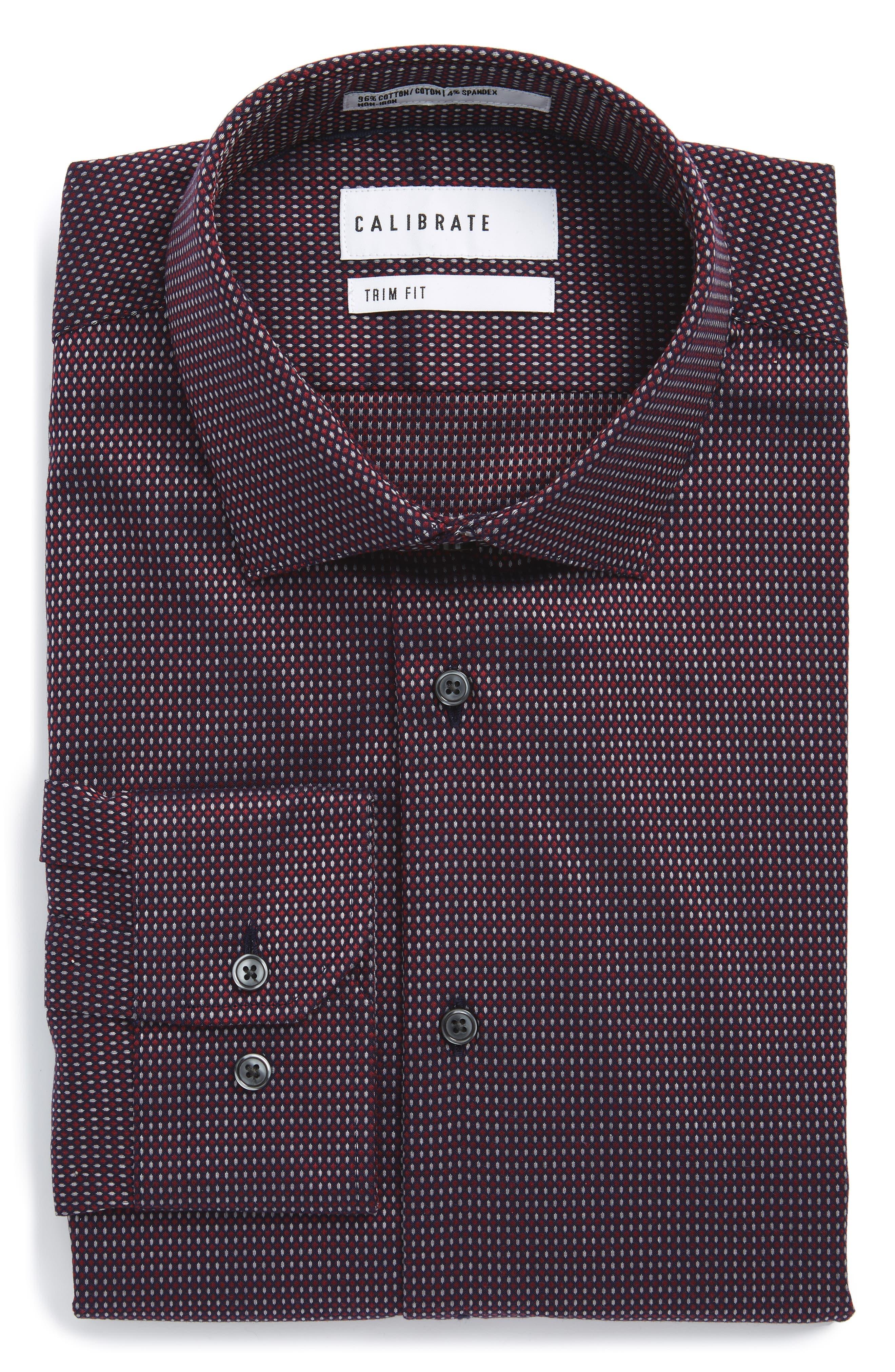 Calibrate Trim Fit Non-Iron Stretch Dot Dress Shirt