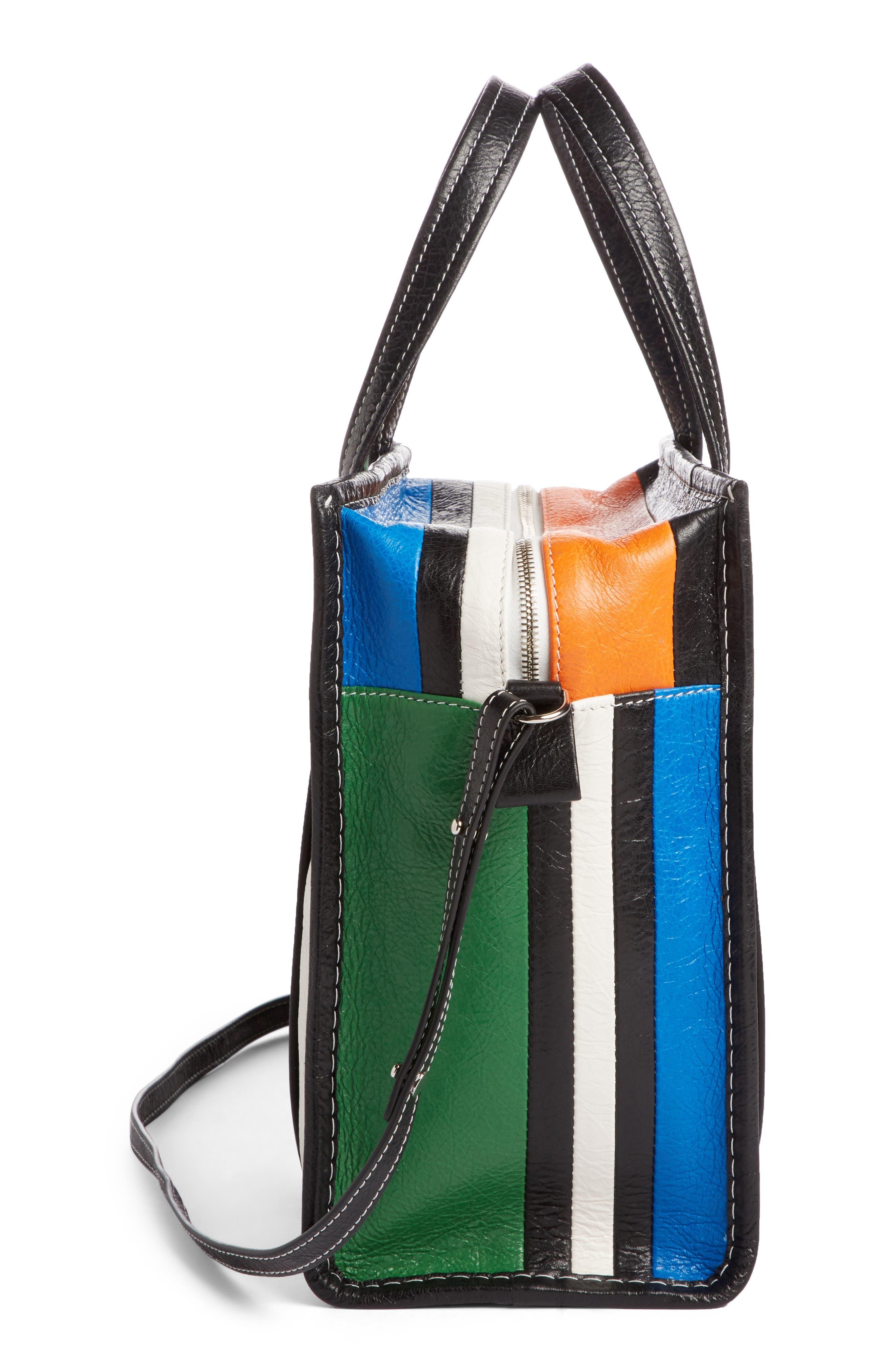 Extra Small Bazar Leather Shopper,                             Alternate thumbnail 3, color,                             Orange/ Blue/ Vert/ Navy
