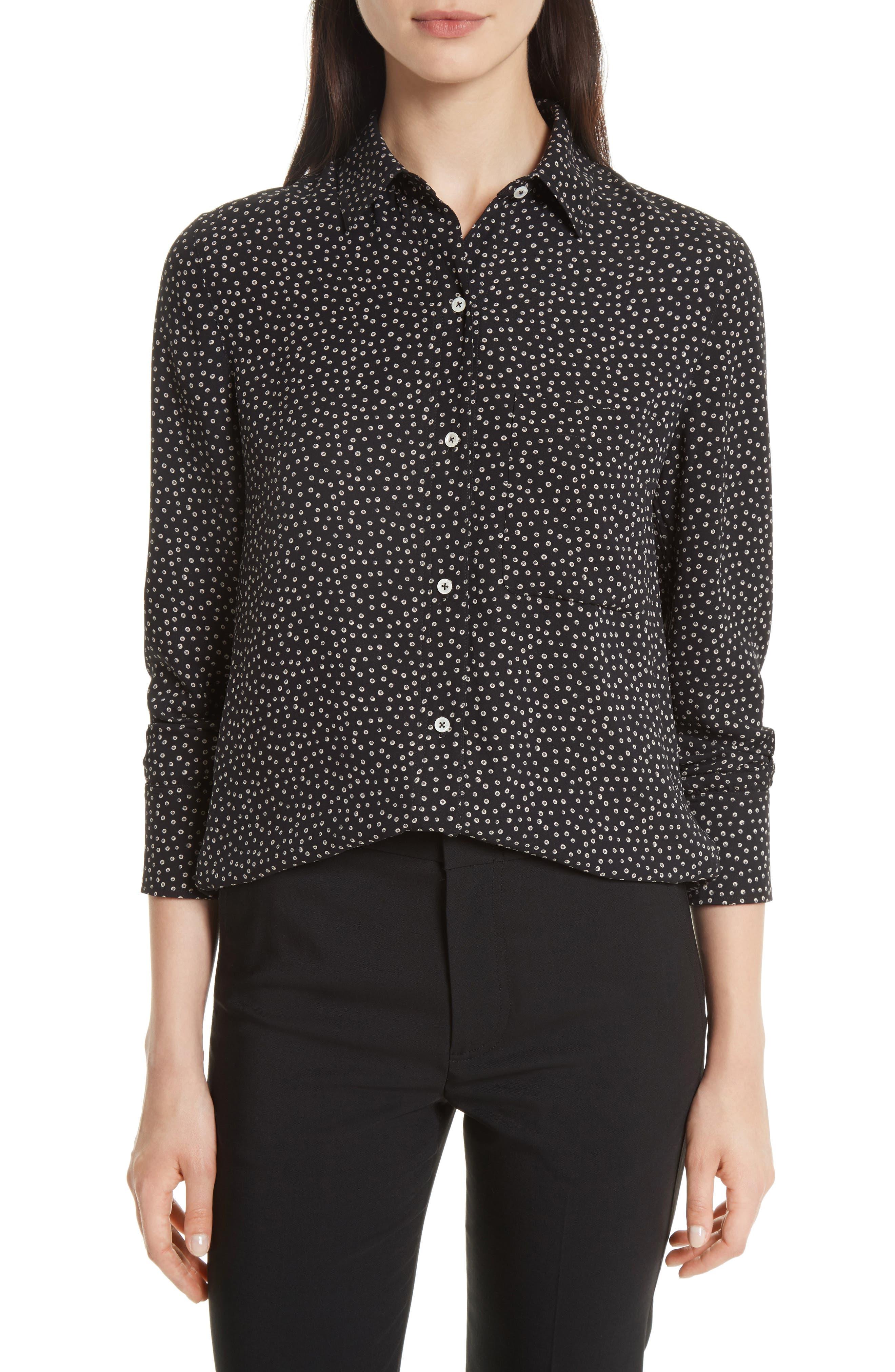 Vince Celestial Polka Dot Slim Shirt