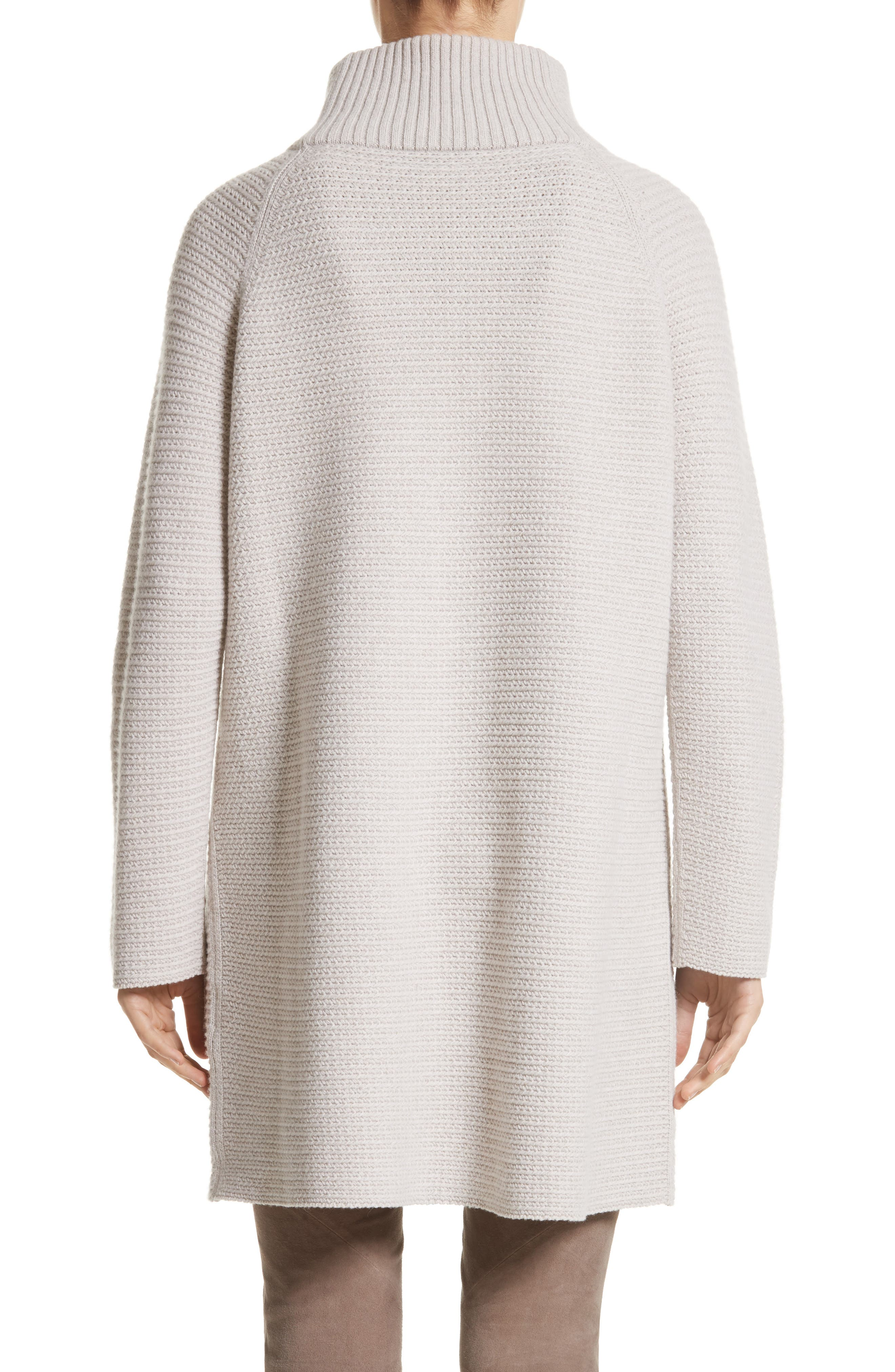 Alternate Image 2  - Lafayette 148 New York Wool & Cashmere Herringbone Stitch Cardigan with Genuine Shearling Pockets
